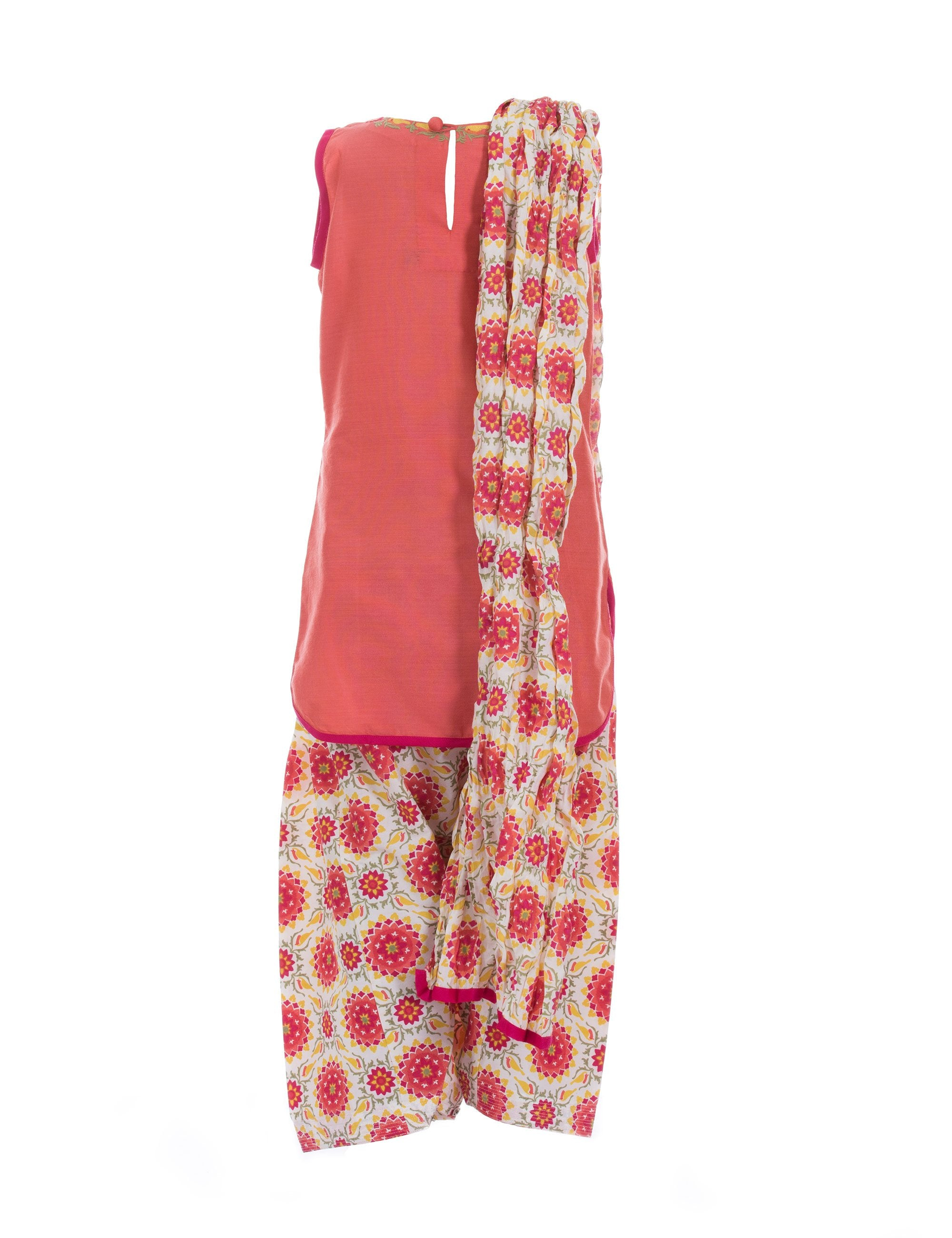 Printed Patiala with Kurti in Orange for Girls