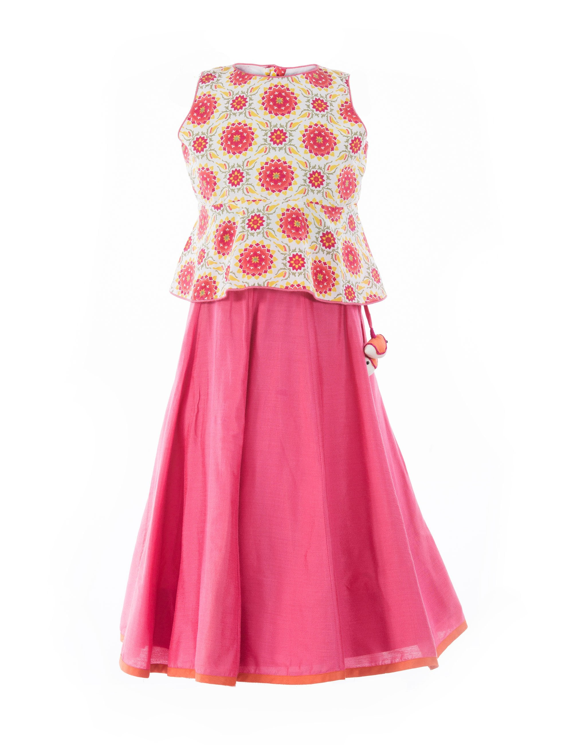 Printed Peplum Ghagra in Pink for Girls
