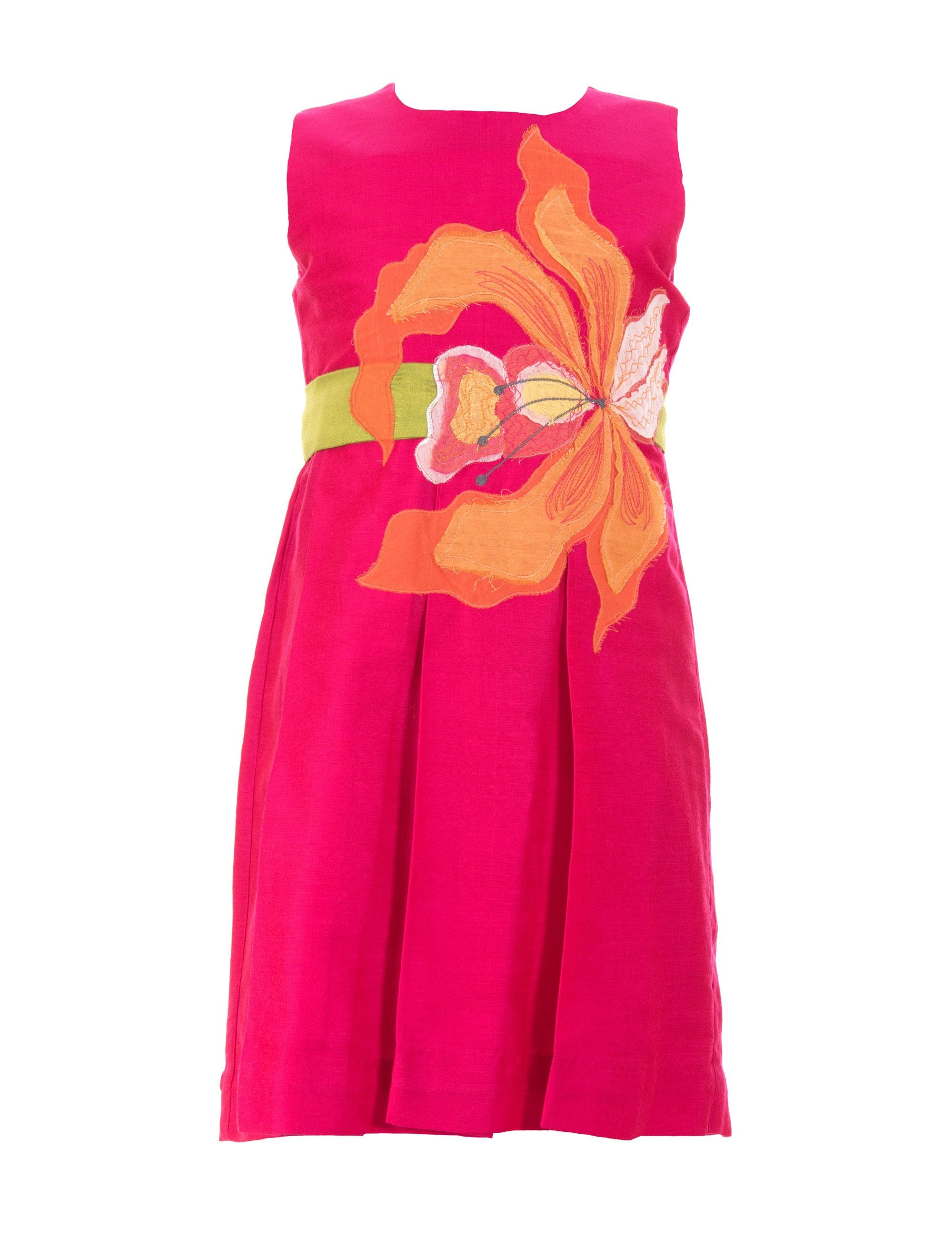 Flower Applique Dress in Pink for Girls