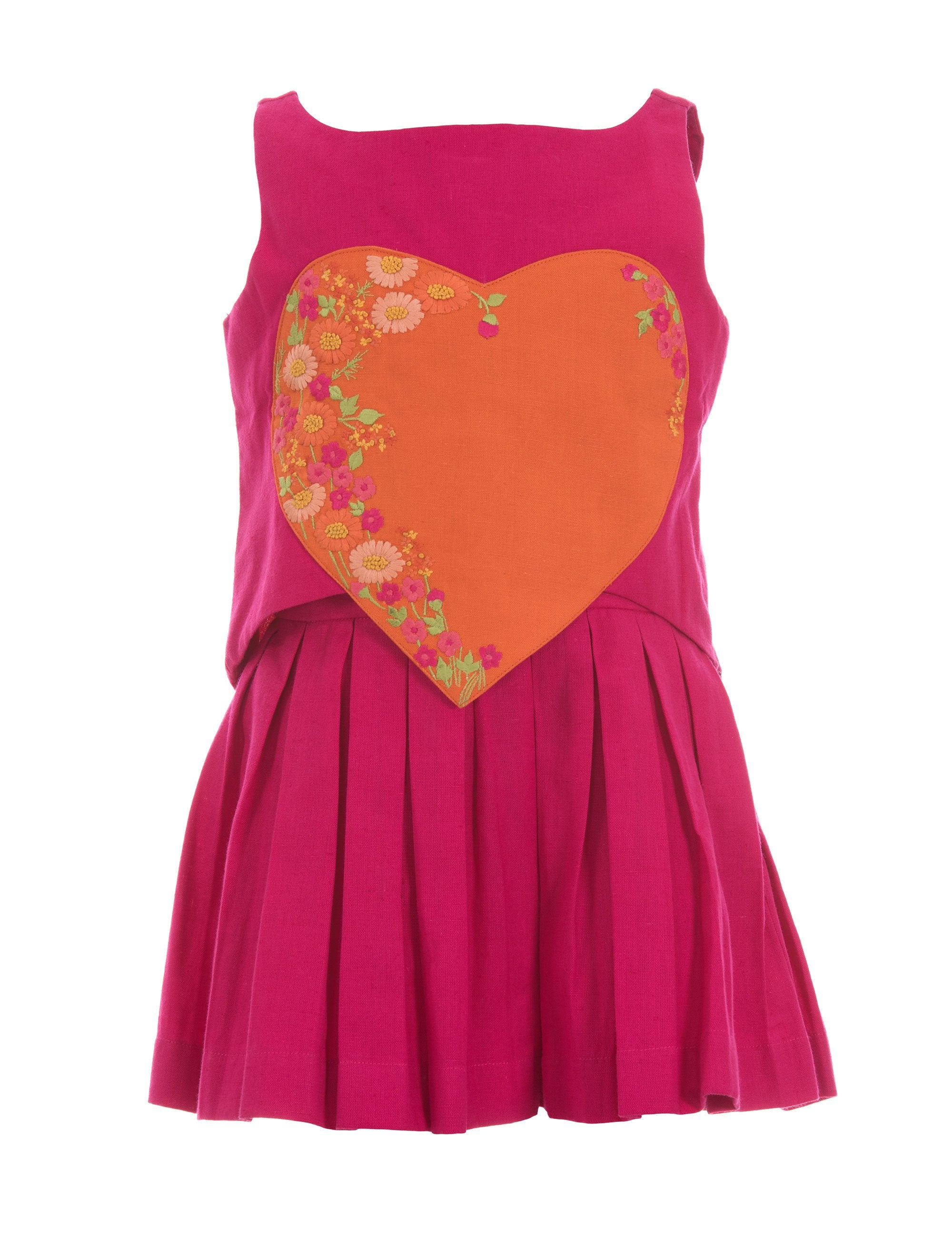 Heart Crop Top with Pleated Skirt in Red for Girls