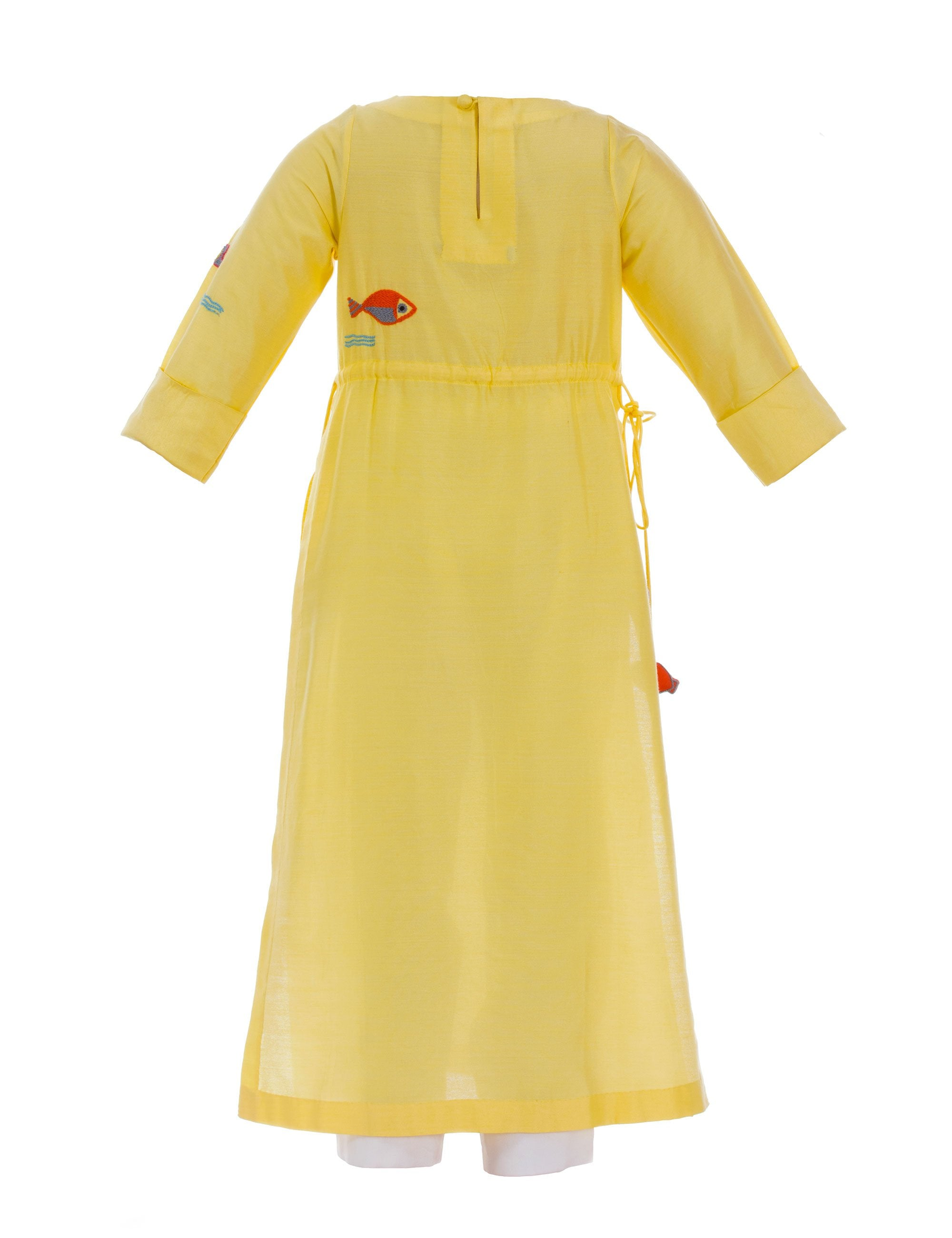 Multi Fish Tunic with Straight Pants in Yellow for Girls