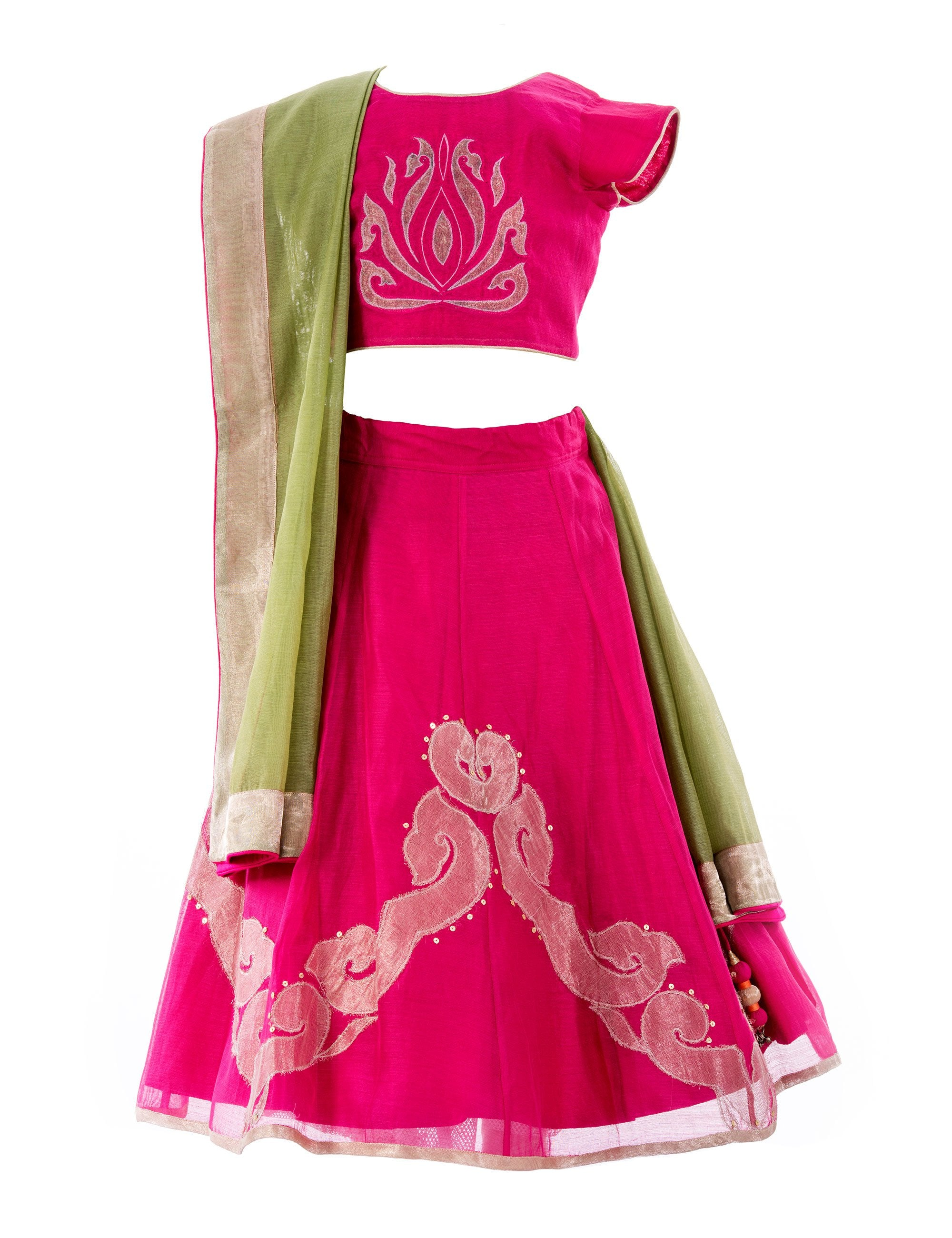 Inlay Applique Lehenga in Red for Girls
