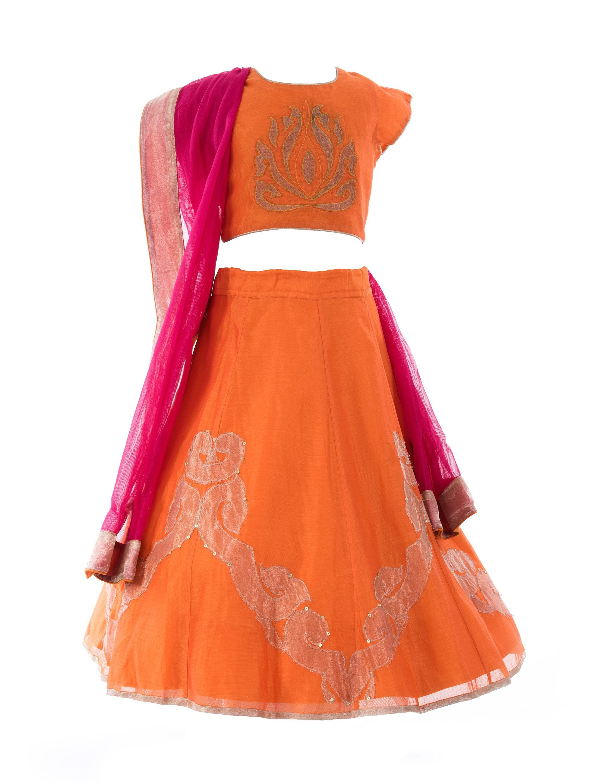 Applique Lehenga in Orange for Girls