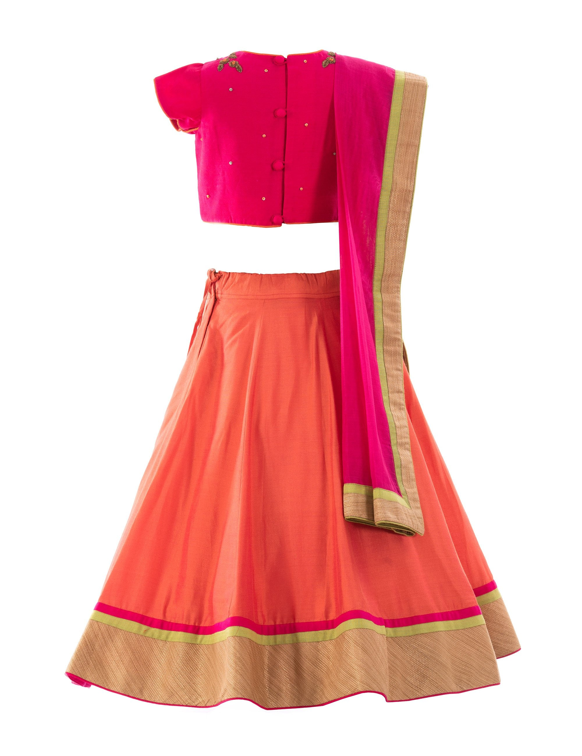 Zardozi Motif Top with Lehenga in Orange for Girls