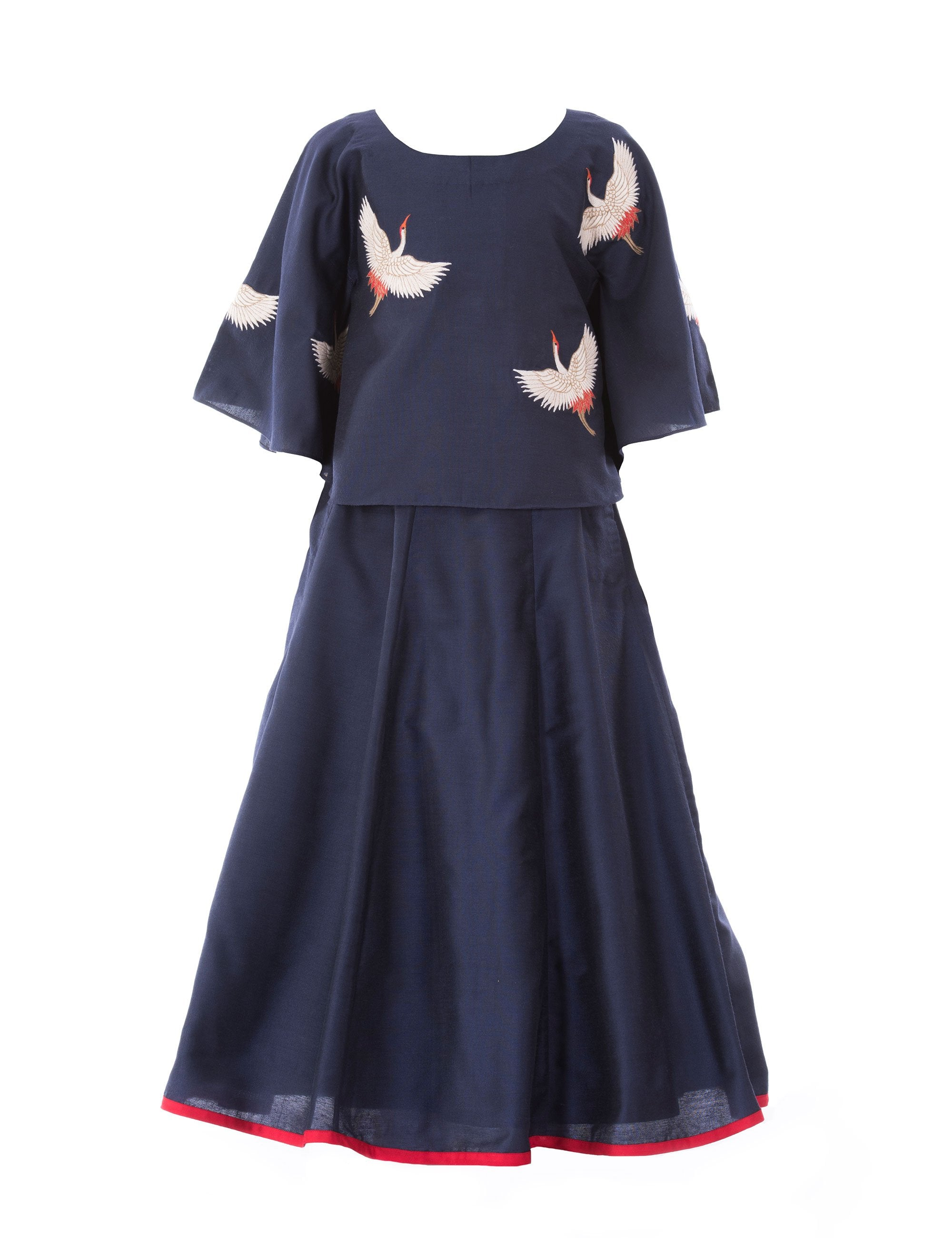 Crane Top with Skirt in Blue for Girls