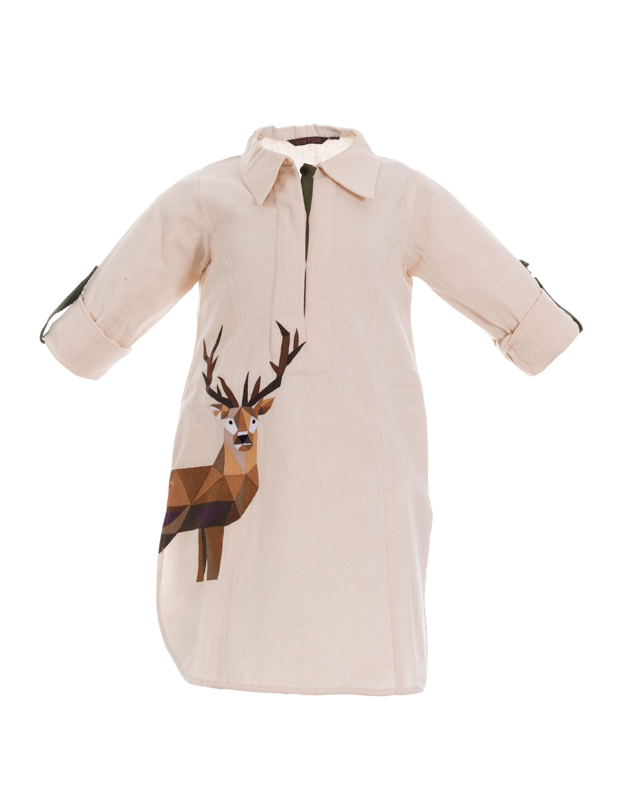 Deer To My Heart Shirt Dress in Off White for Girls