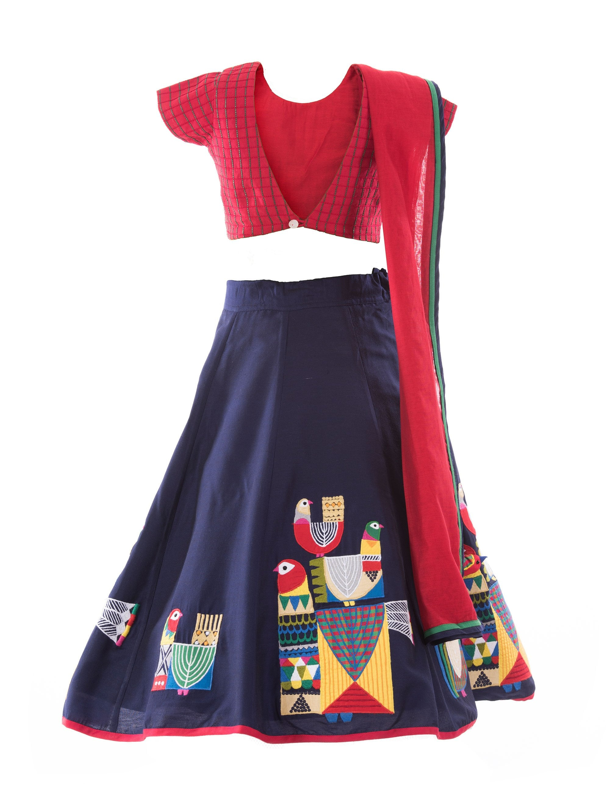 Tribal Tales Lehenga with Embroidered Choli in Blue for Girls