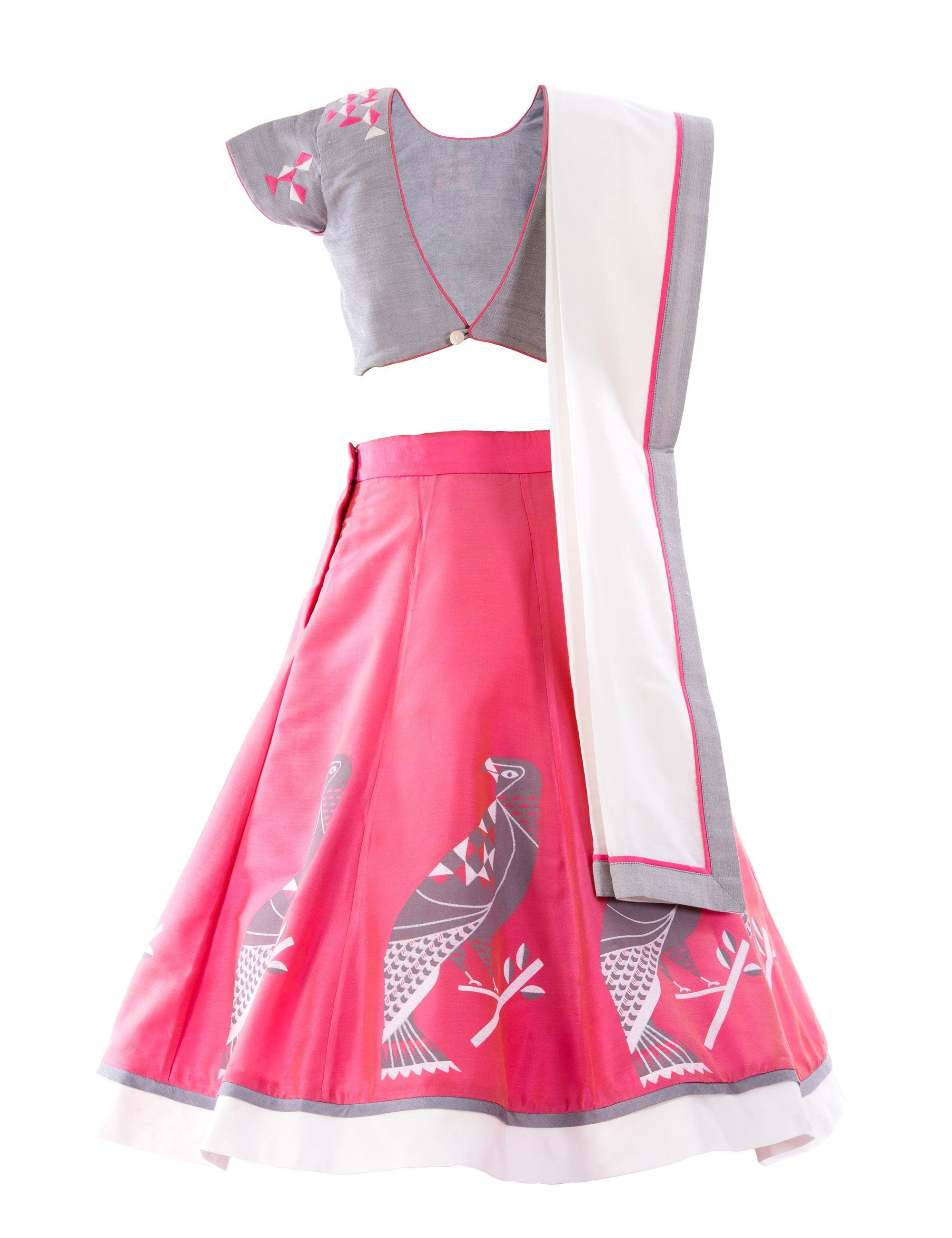 Eagle Embroidered Choli with Printed Lehenga in Grey and Pink for Girls