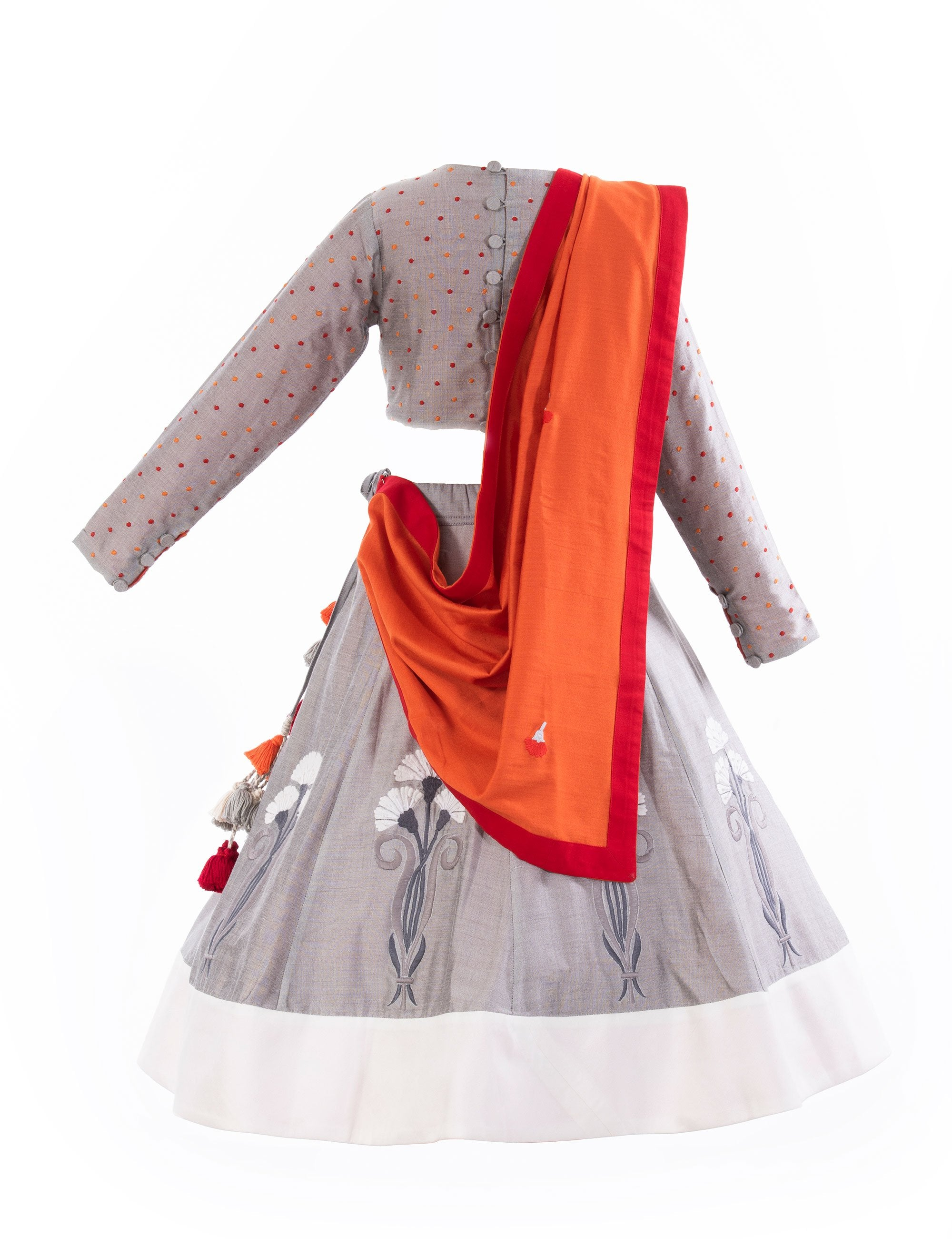 Noor Jahan Lehenga in Grey for Girls