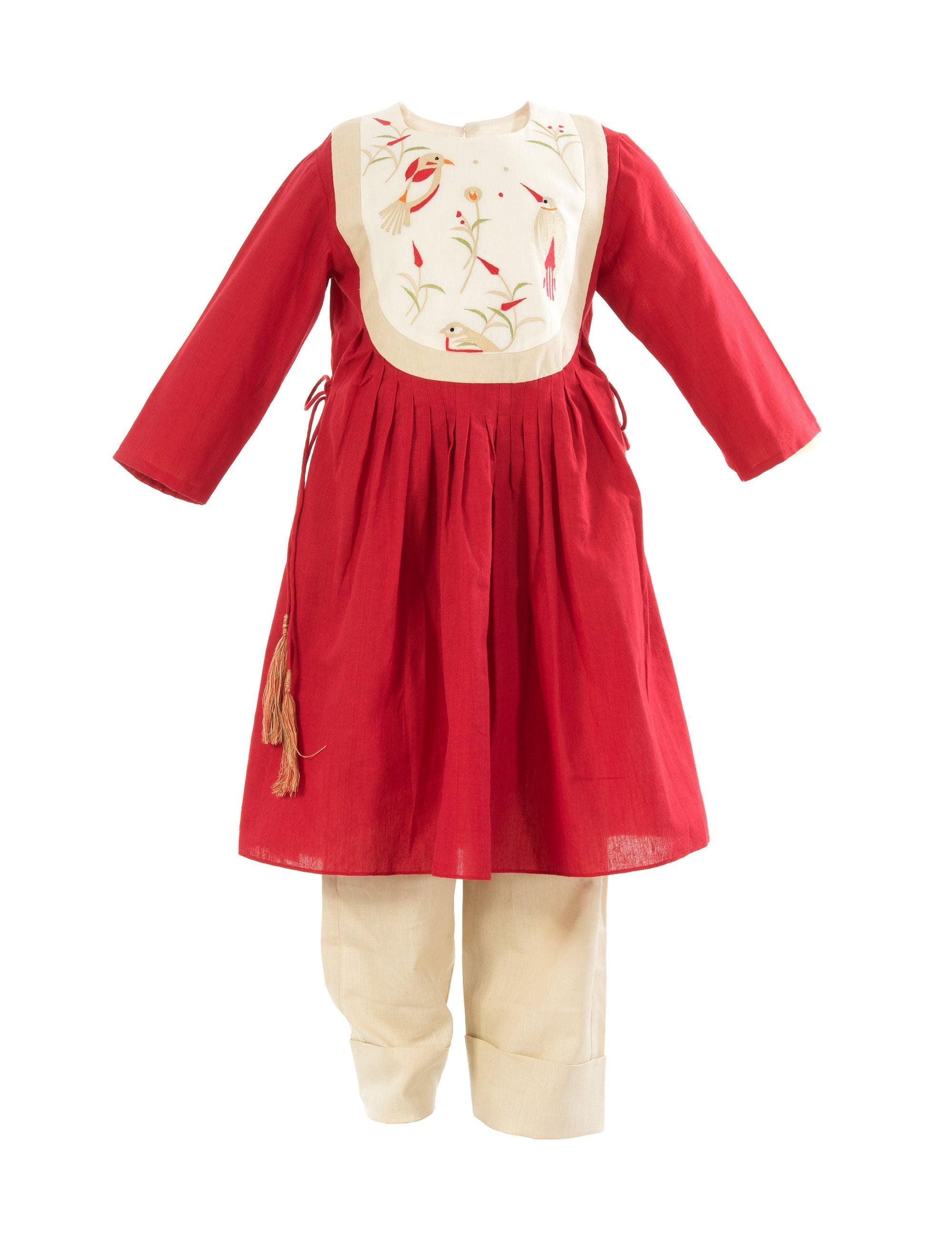 Woodnote Yolk Kurta in Red for Girls