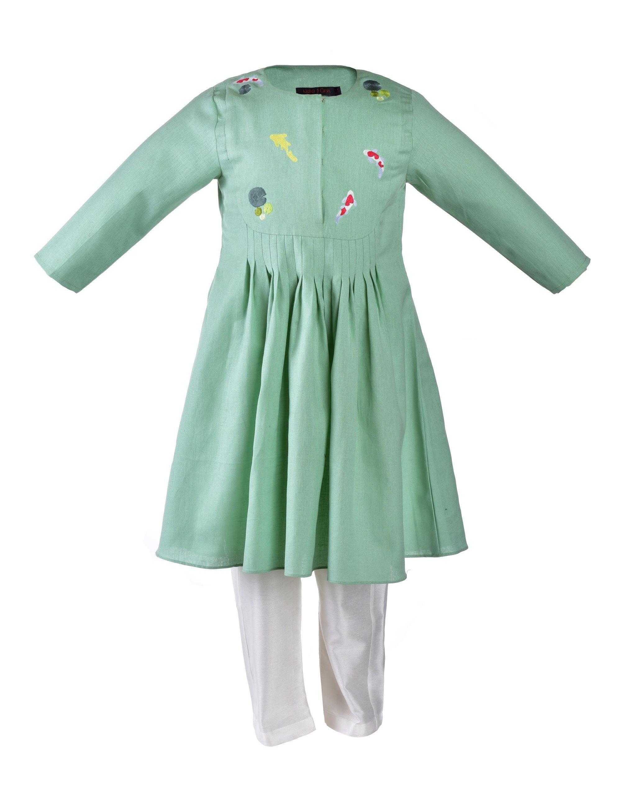 Mint green kurta with fish embroidery at front and back