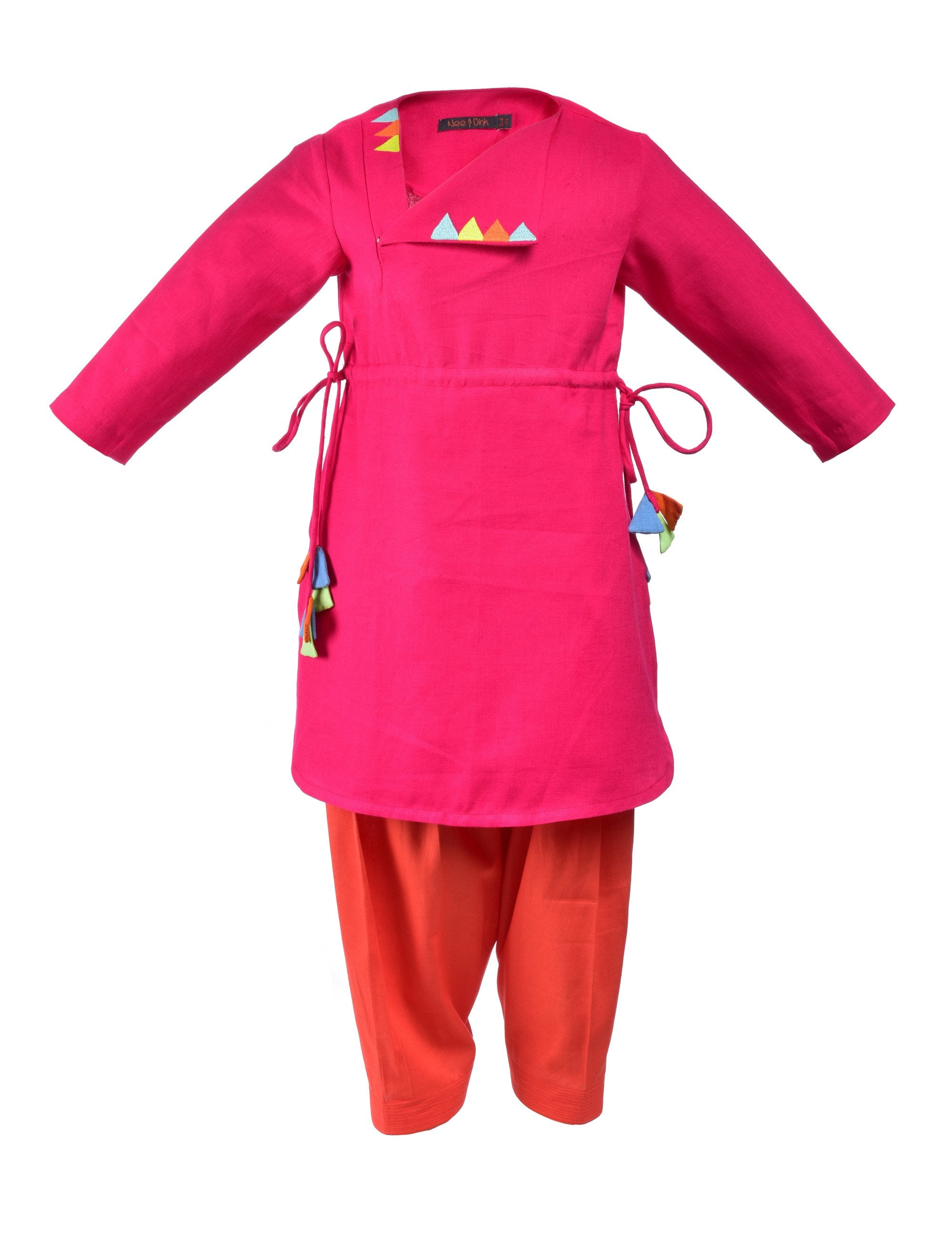 Pink kurti with multicolour triangle embroidered at front