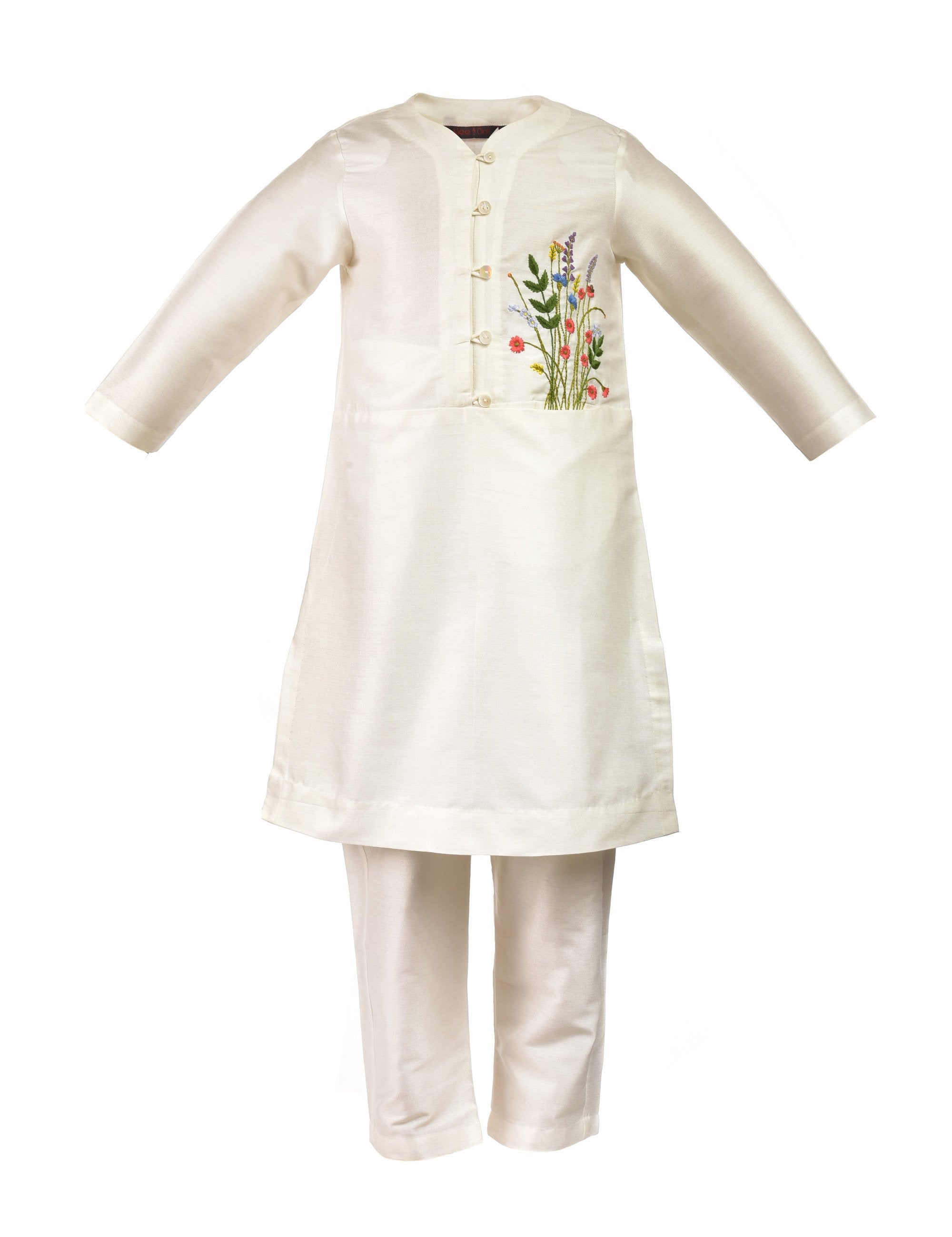 Off white kurta with flowers and leaves embroidery on side