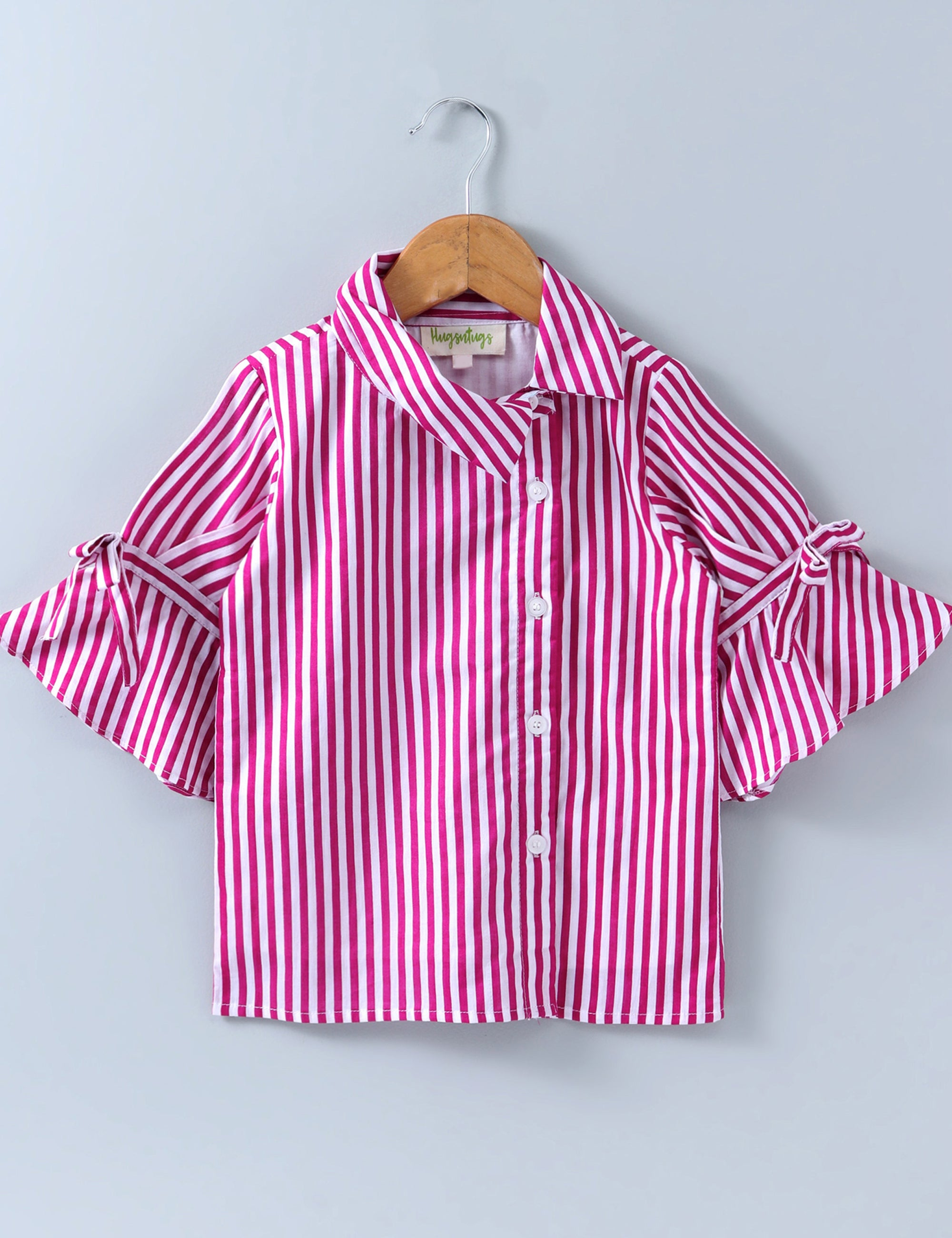 Three Fourth Sleeves Striped Top - Pink