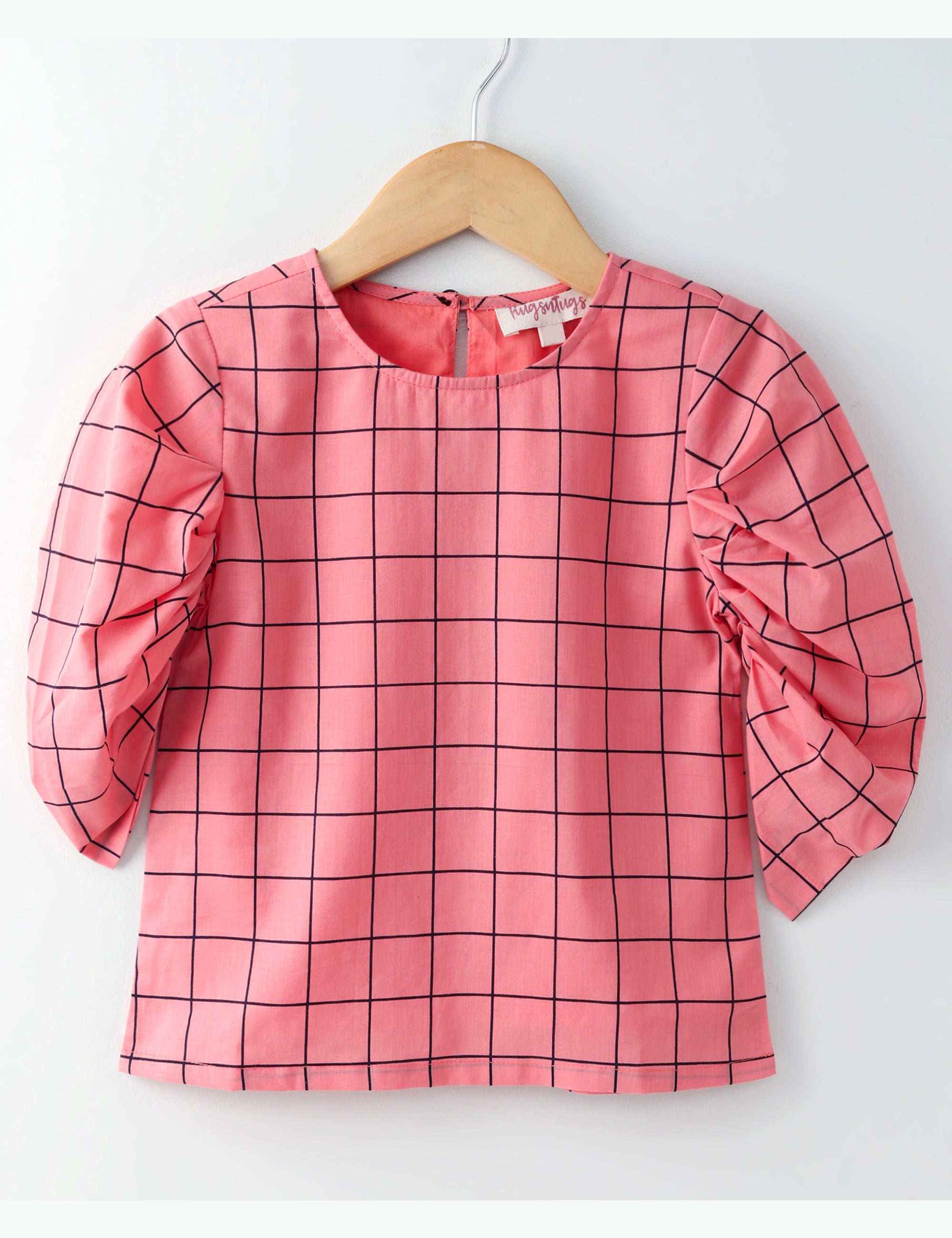 Gathered Full Sleeves Checked Top - Peach