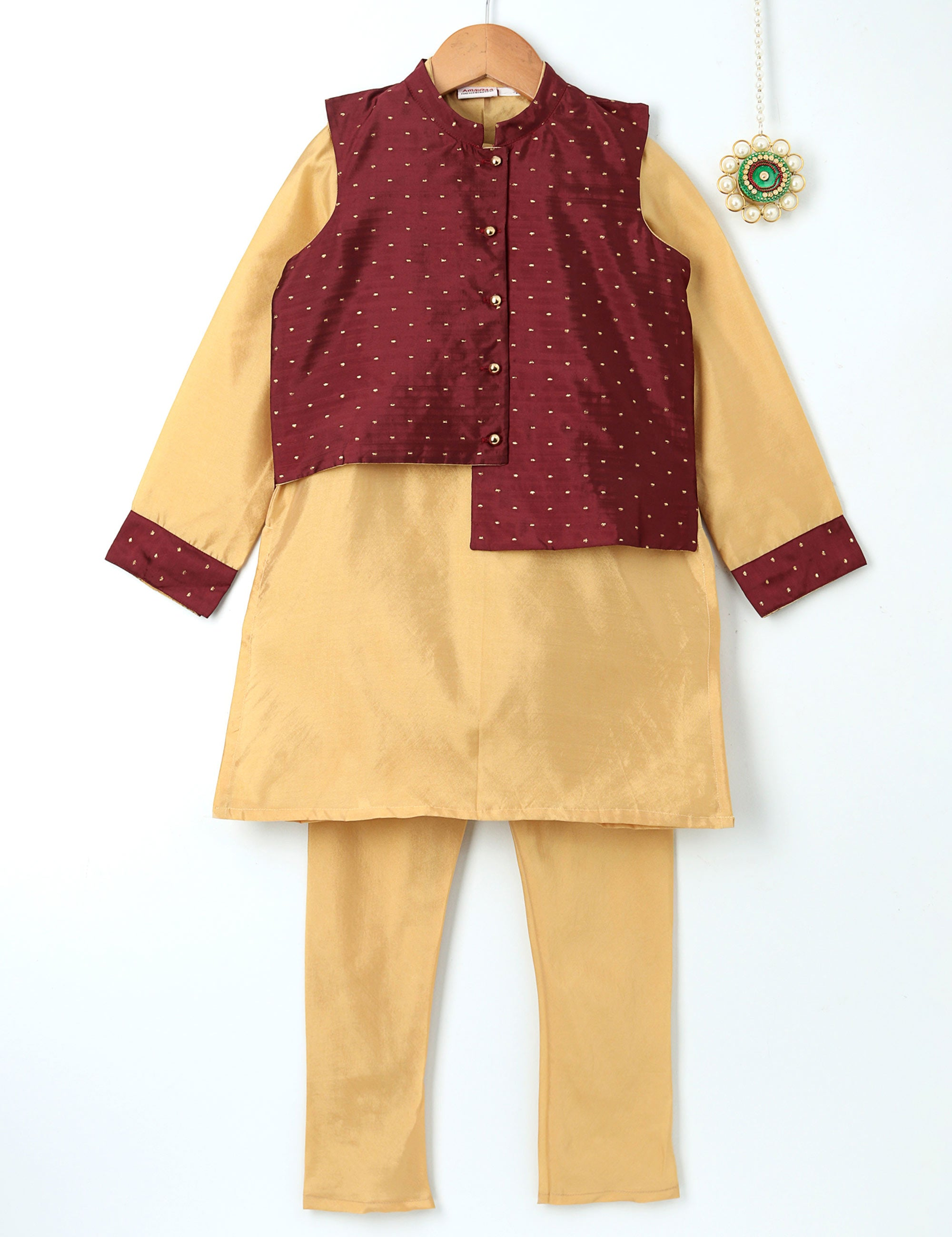 Kurta Pyjama and Jacket in Beige Colour