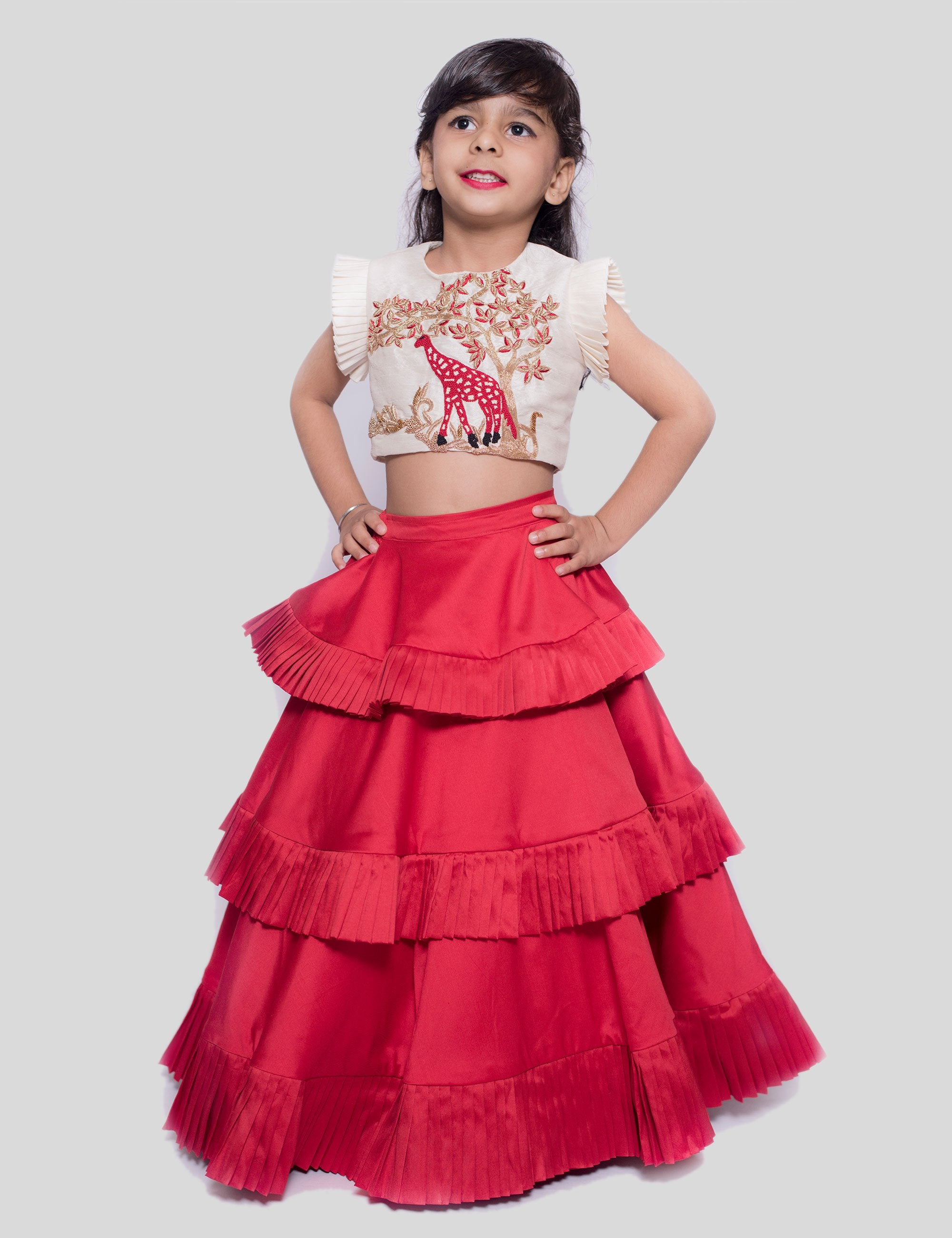 Embroidered Giraffe Layered Ghagra In Red for Girls