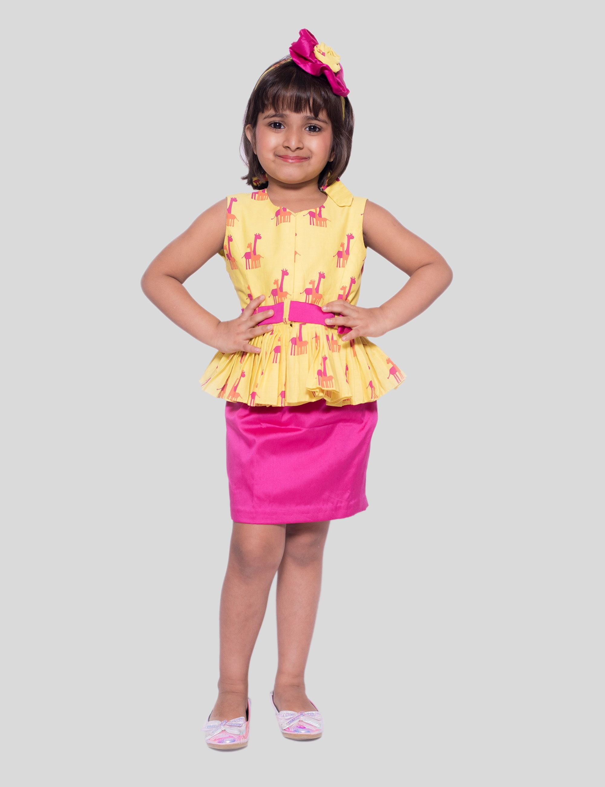 Giraffe Peplum with Skirt In Yellow-Pink for Girls