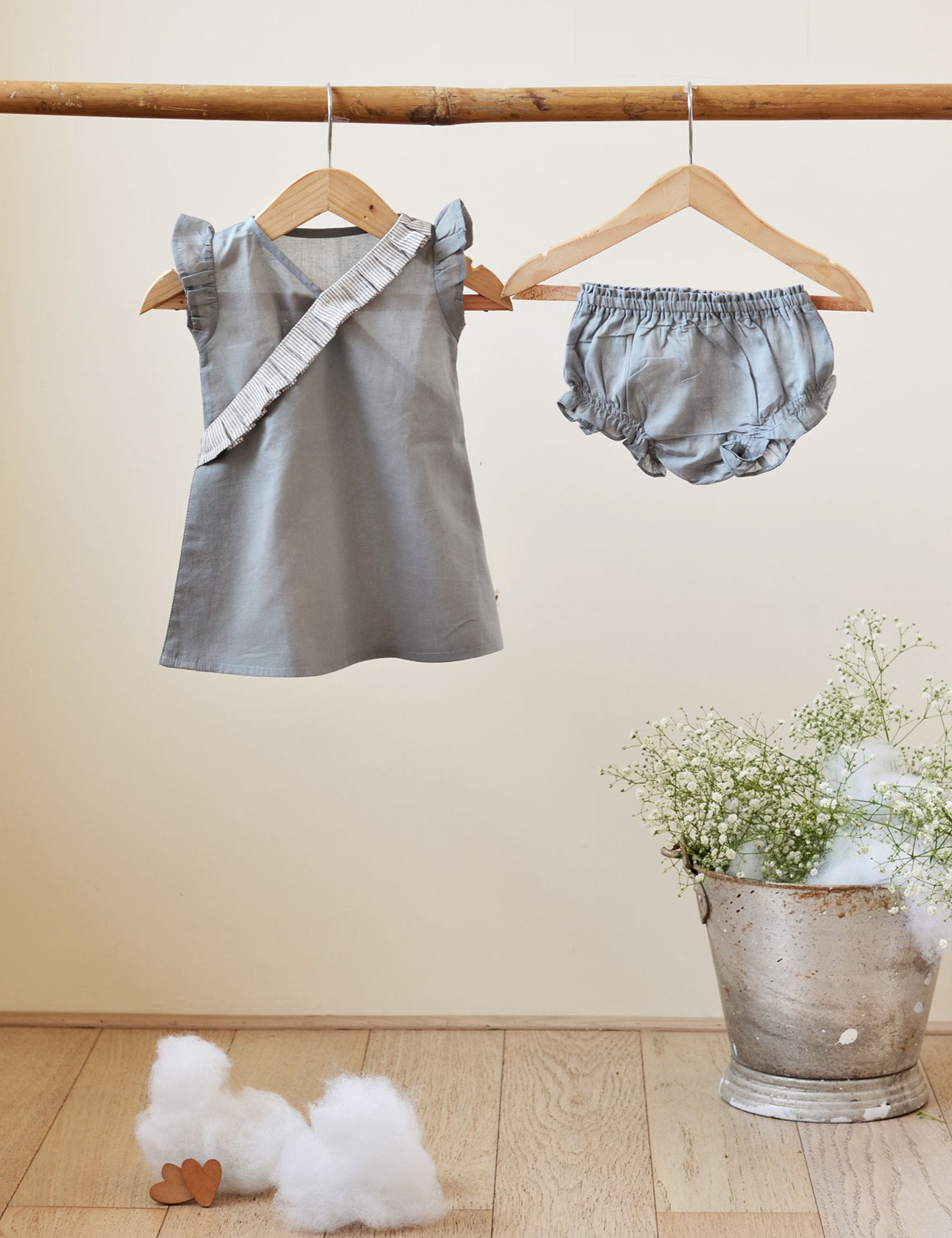 Frill Dress in Grey with Bloomers