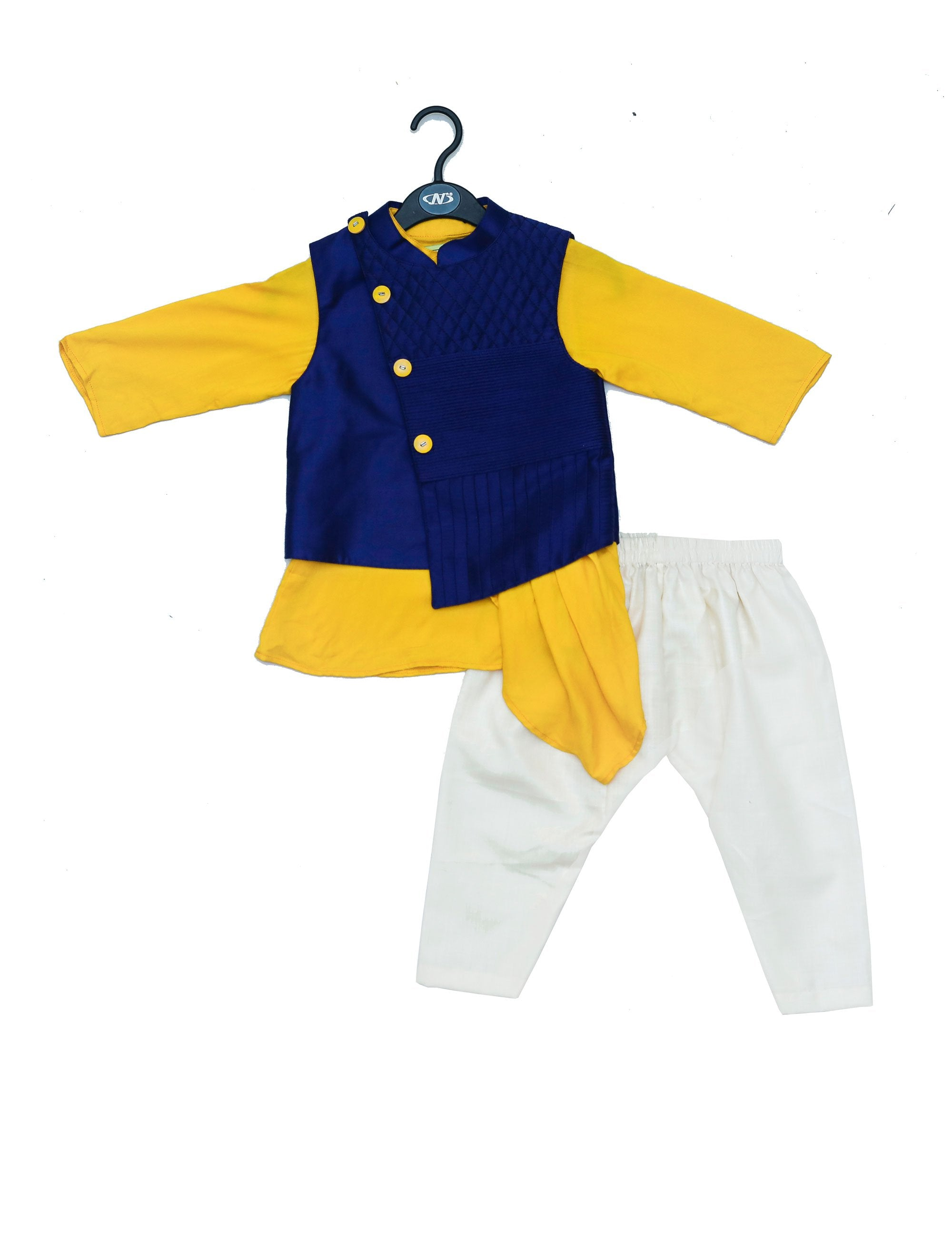 Blue Nehru Jacket With Yellow Kurta and White Pajama