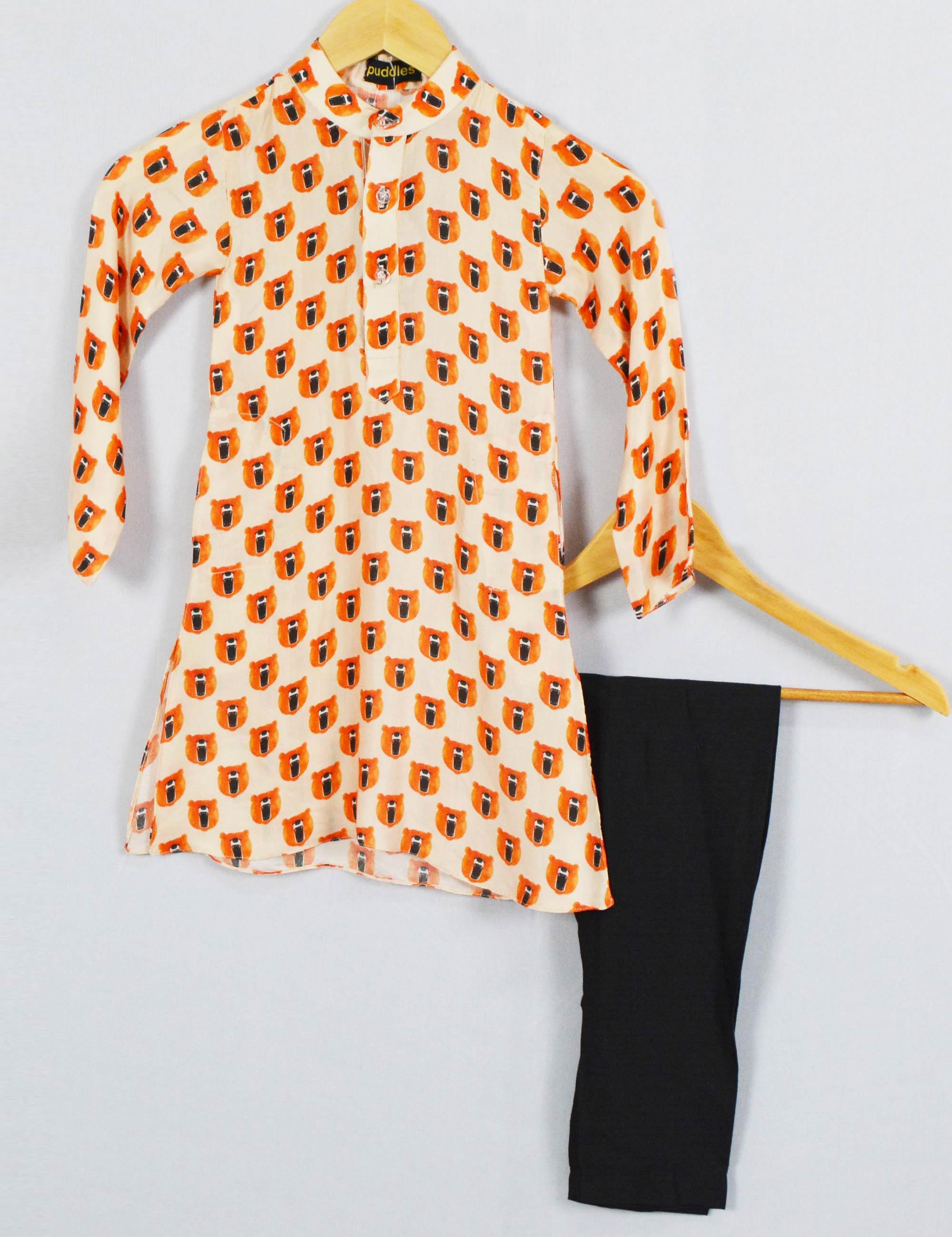 Bear Print Kurta and Black Pajama Set