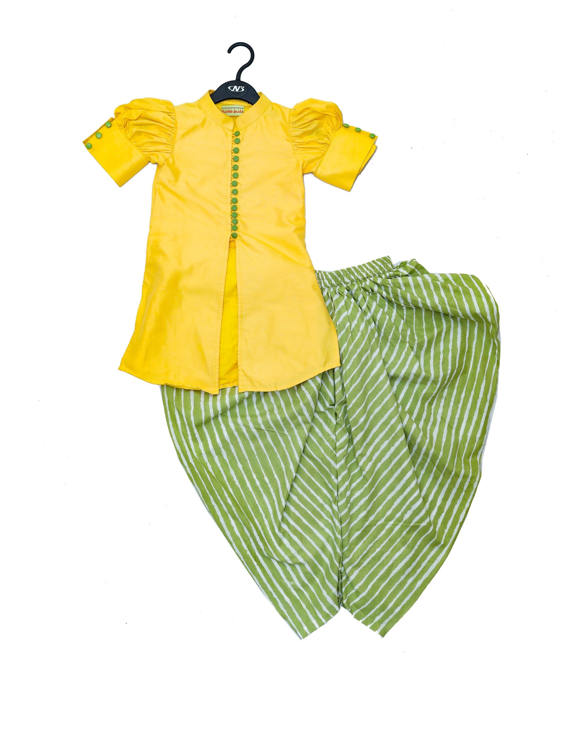 Yellow Top with Balloon Sleeves and Green Dhoti with Stripes