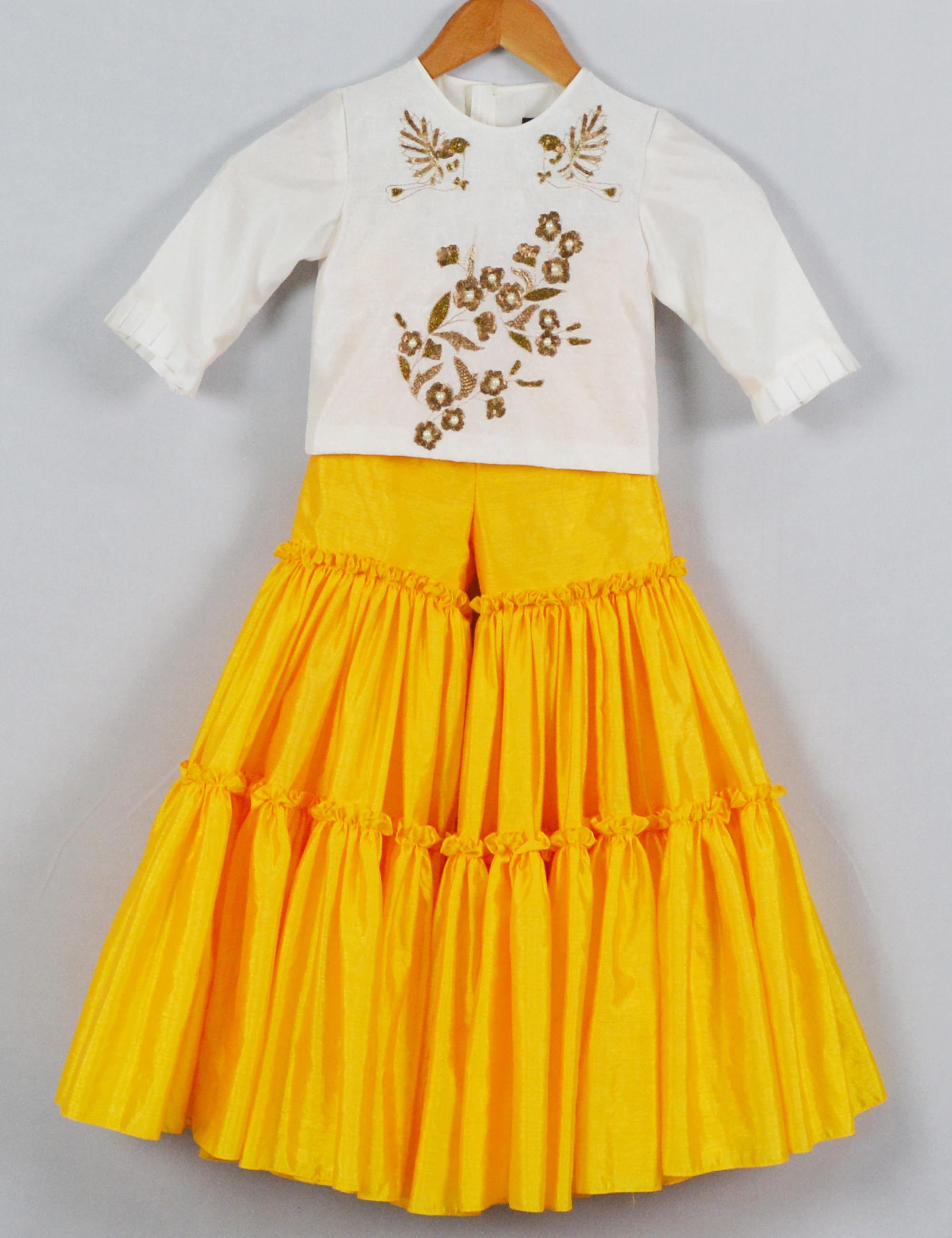Bird Embroidered Top and Yellow Sharara