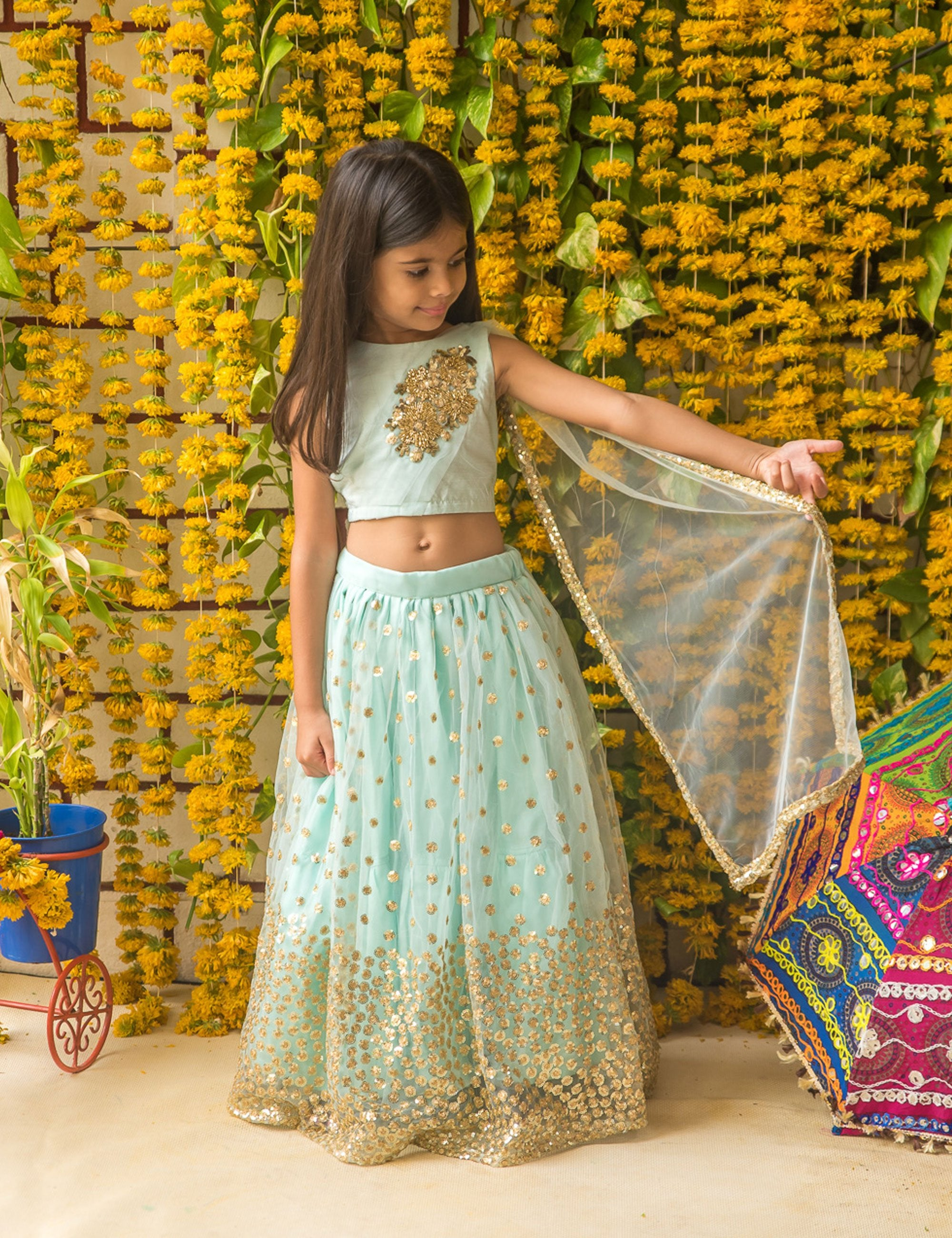 Blue Sequin Embroidered Choli and Lehenga with Attached Dupatta
