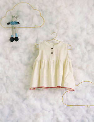 Atop A Fluffy Cotton Cloud' Off White Top with Red Selvedge for Girls