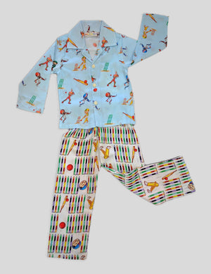 Cricket Print Cotton Night Wear in Multi-Colour for Boys (Full Sleeves)