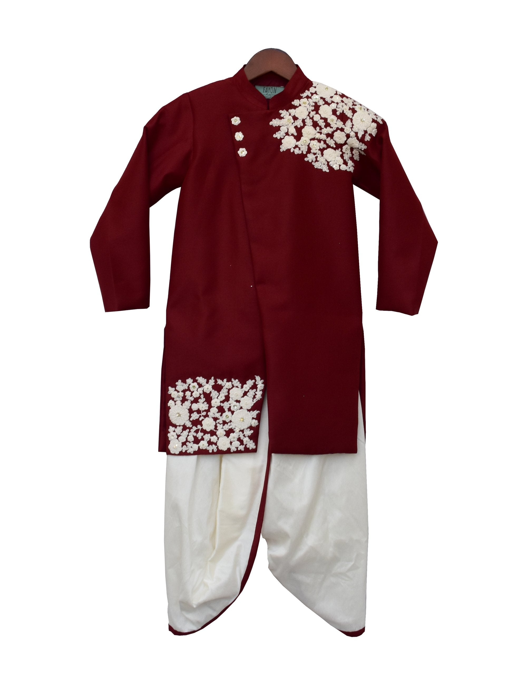 Maroon Embroidery Ajkan with Dhoti
