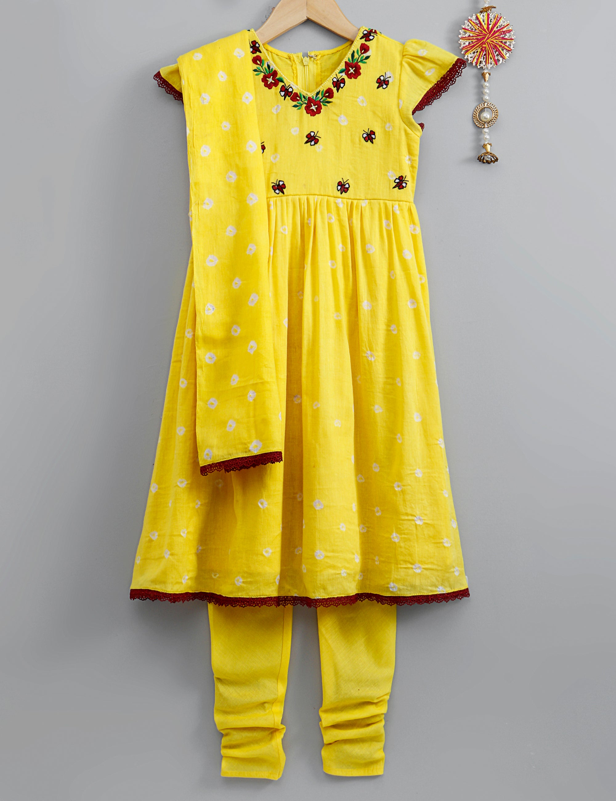 Yellow bandhini Anarkali with chudidar and dupatta