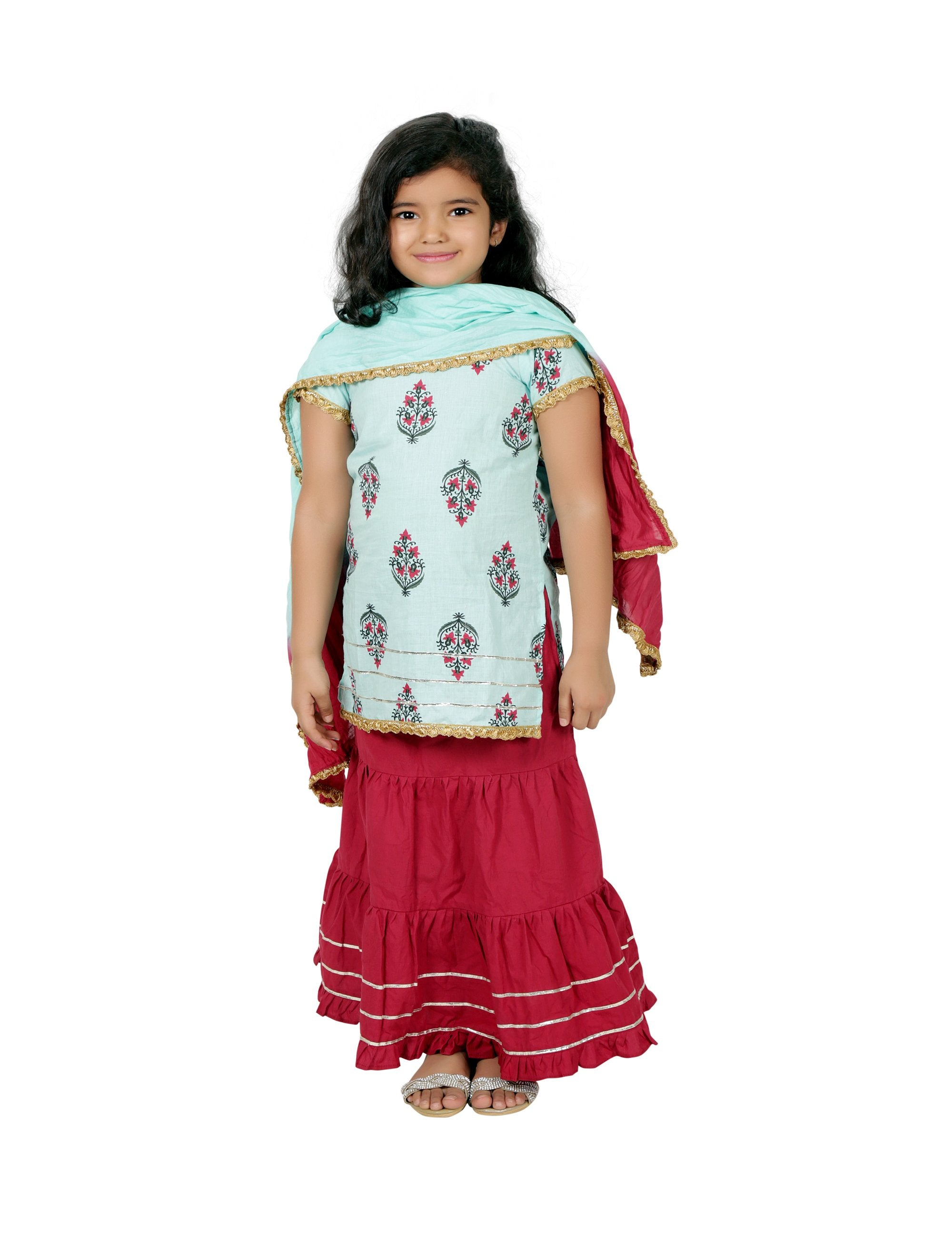 Short Kurta with Skirt in Blue Colour