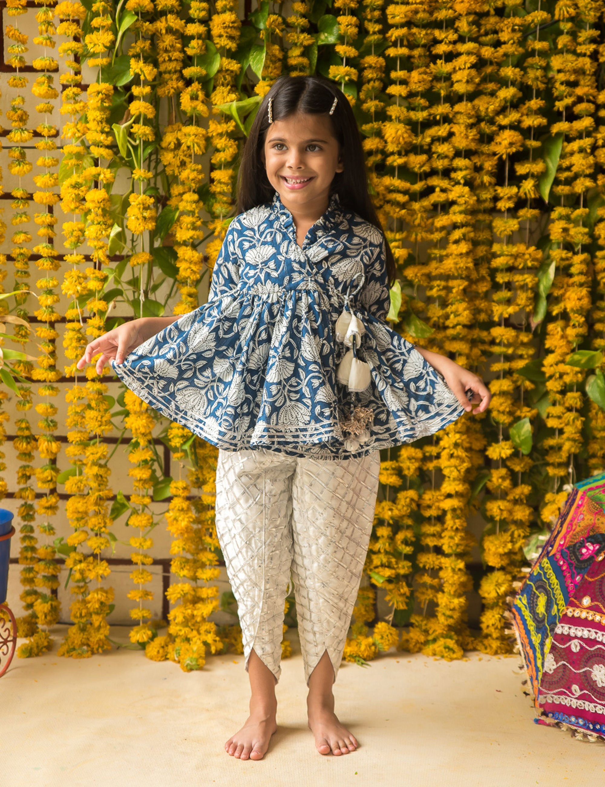 Blue Top with White Dhoti Pant