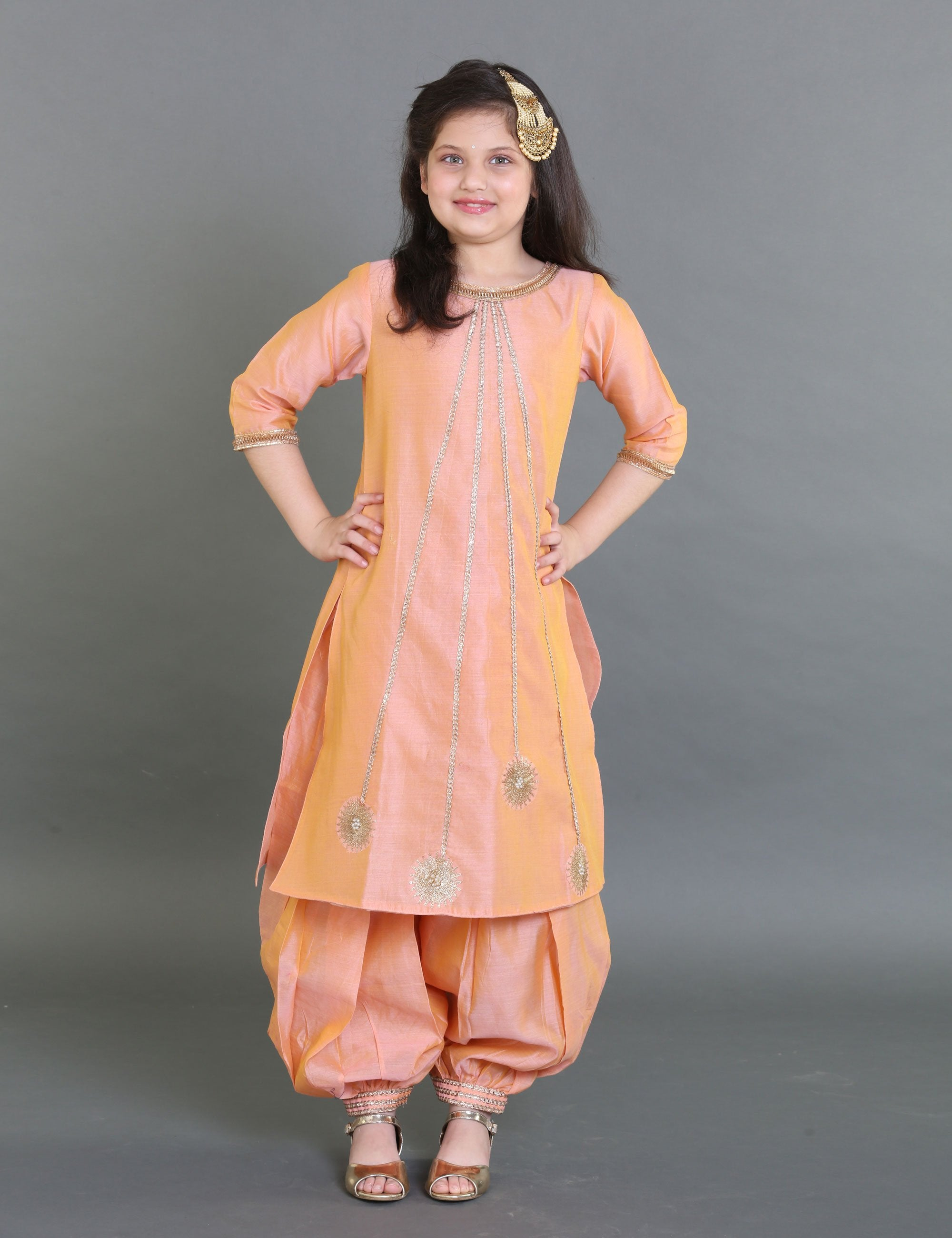Chanderi Embroidered Suit with Arabian Pants