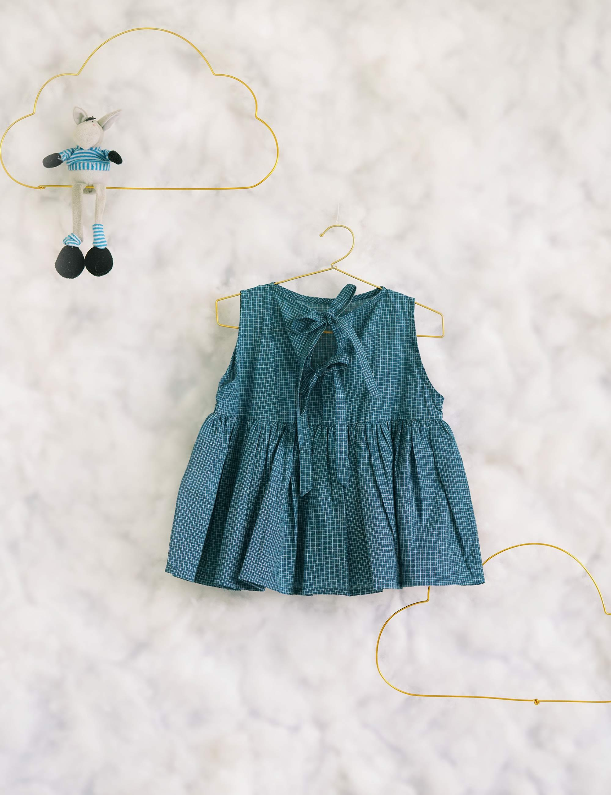 All Square Blue Top for Girls