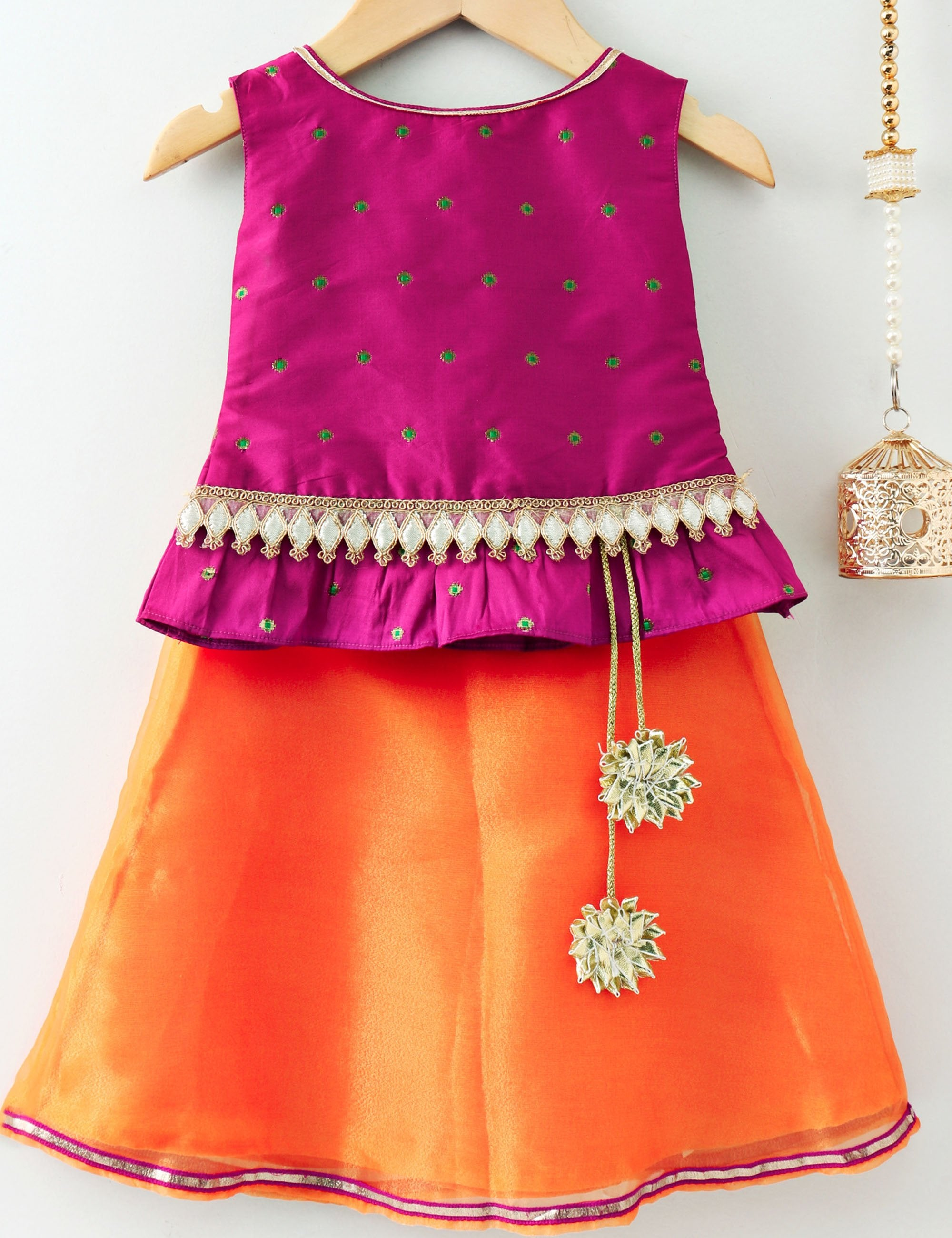 Embellished Sleeveless Choli with Lehenga - Pink