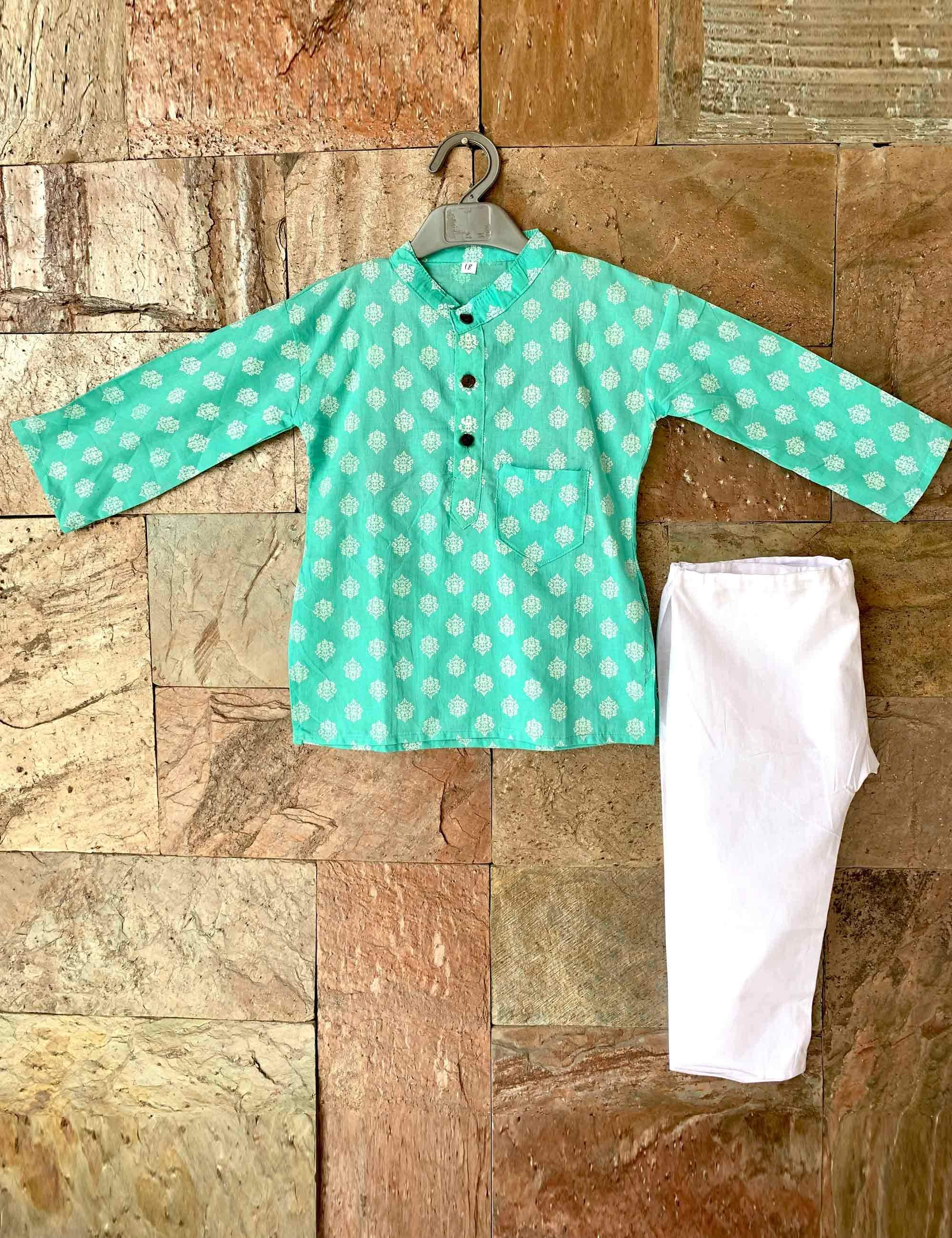 Aqua Pastel color Kurta Pyjama Set