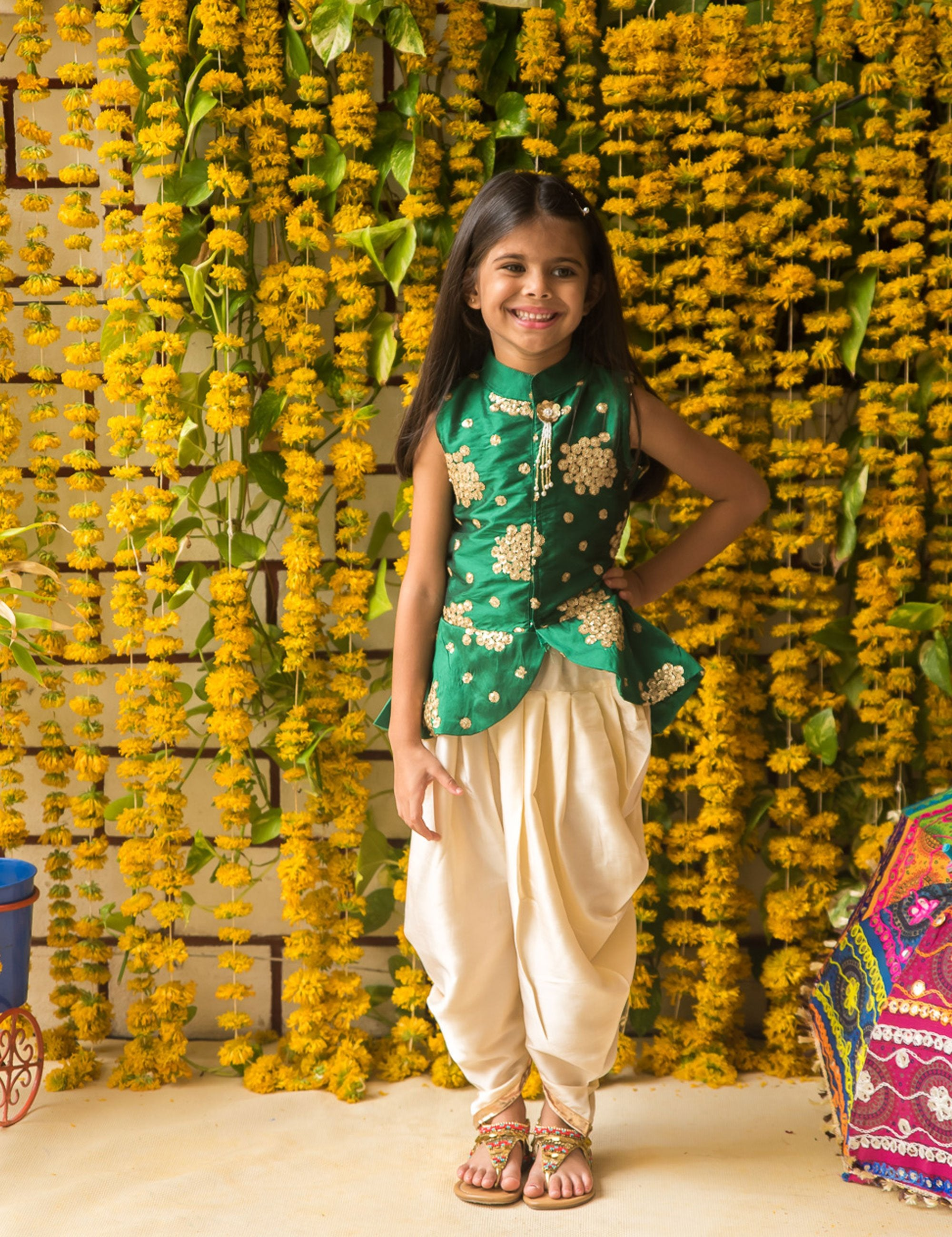 Green Top with Golden Embroidery and White Dhoti