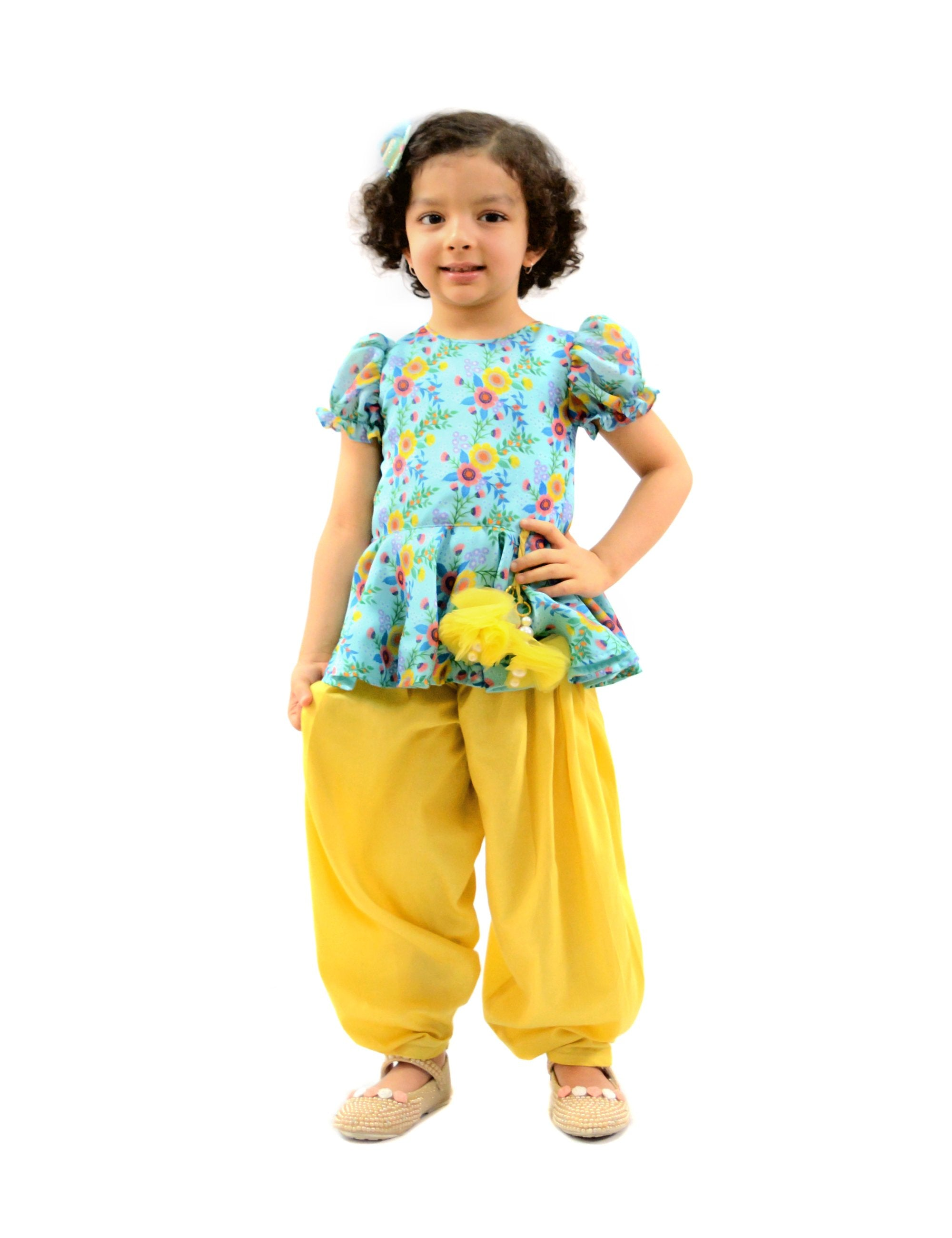 Yellow Dhoti & Peplum Top