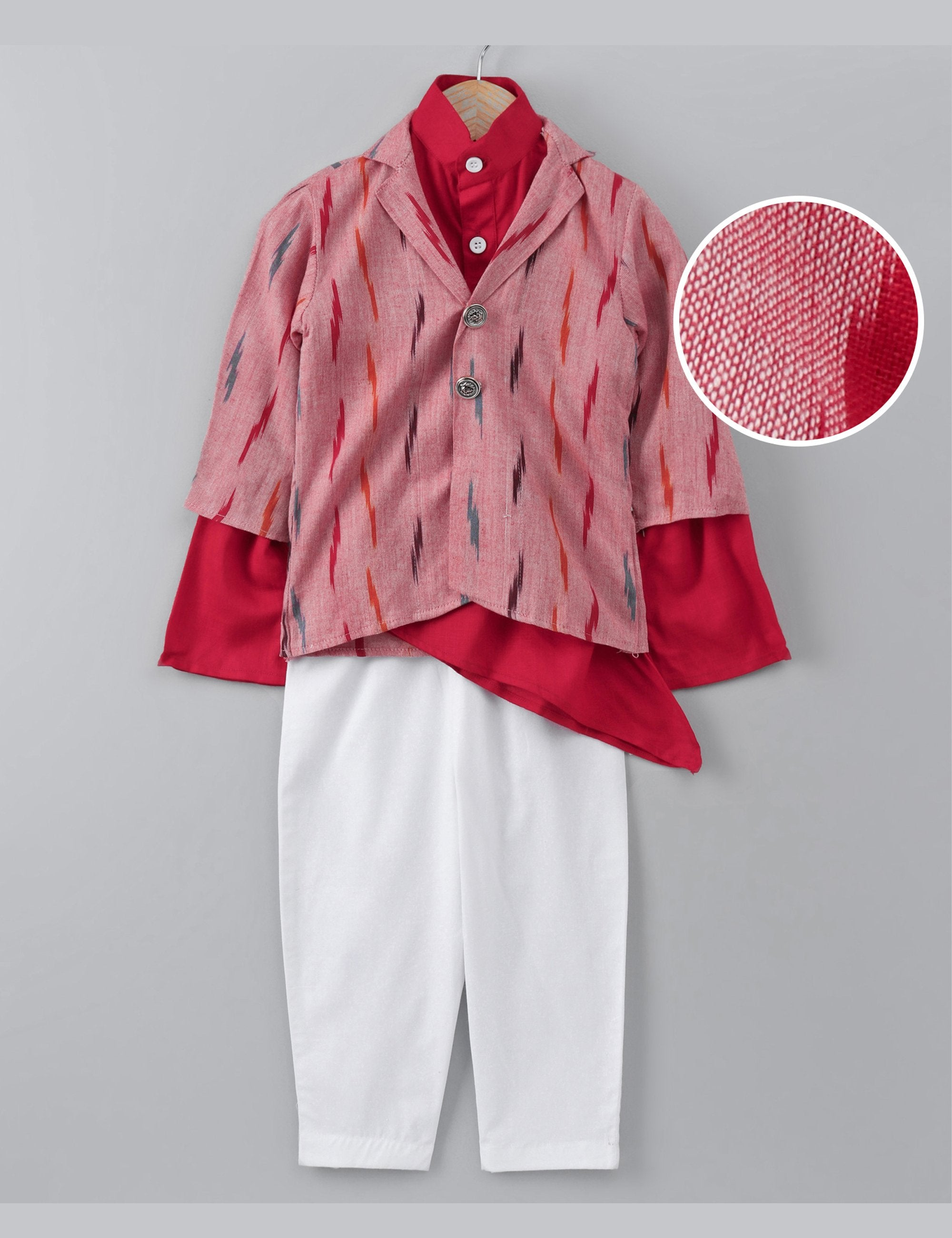 Red One Side Cut Kurta with Jacket and Pants