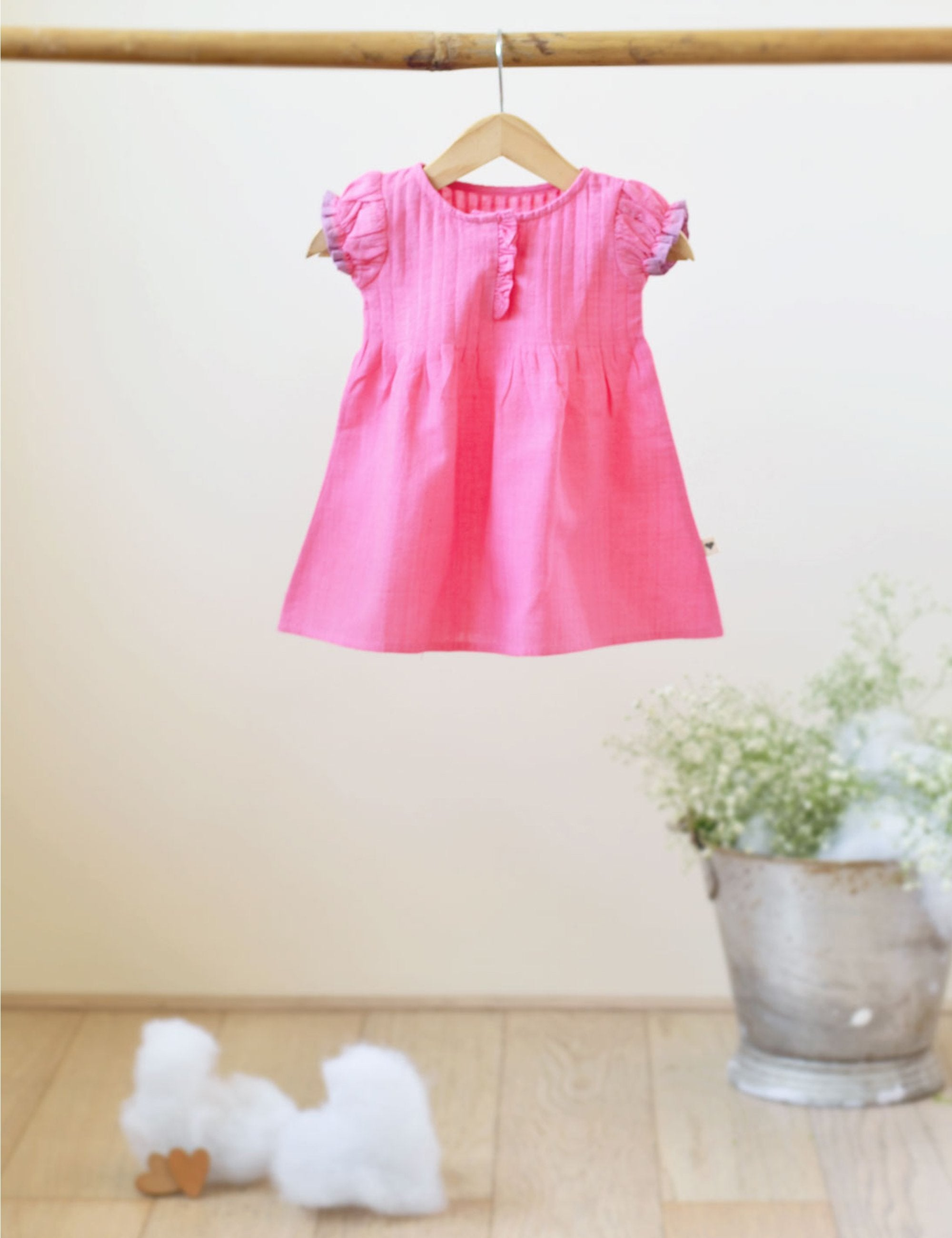 Pin Tuck Dress in Pink Solid