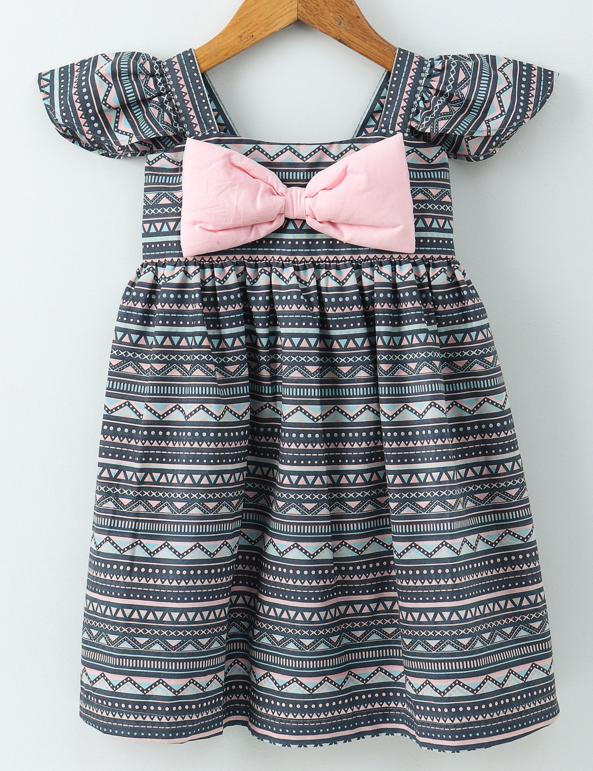Geometric Print Bow  Dress - Grey