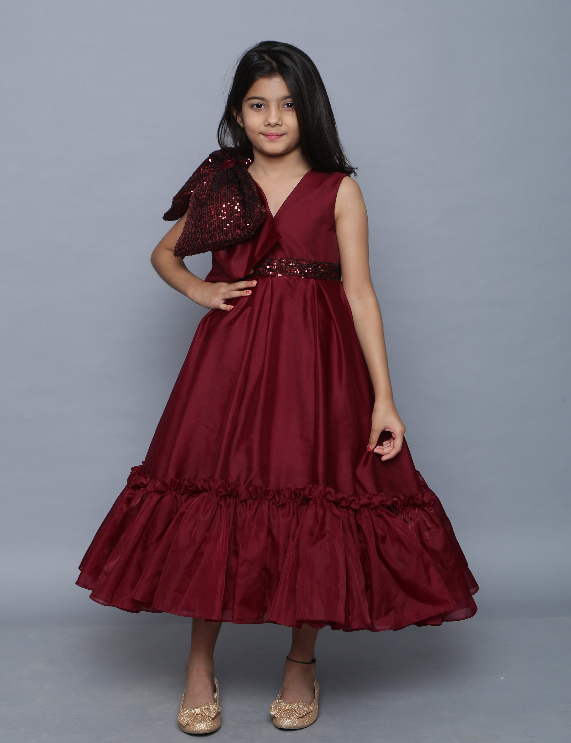 Wine Organza Flairy Gown with Sequence Bow