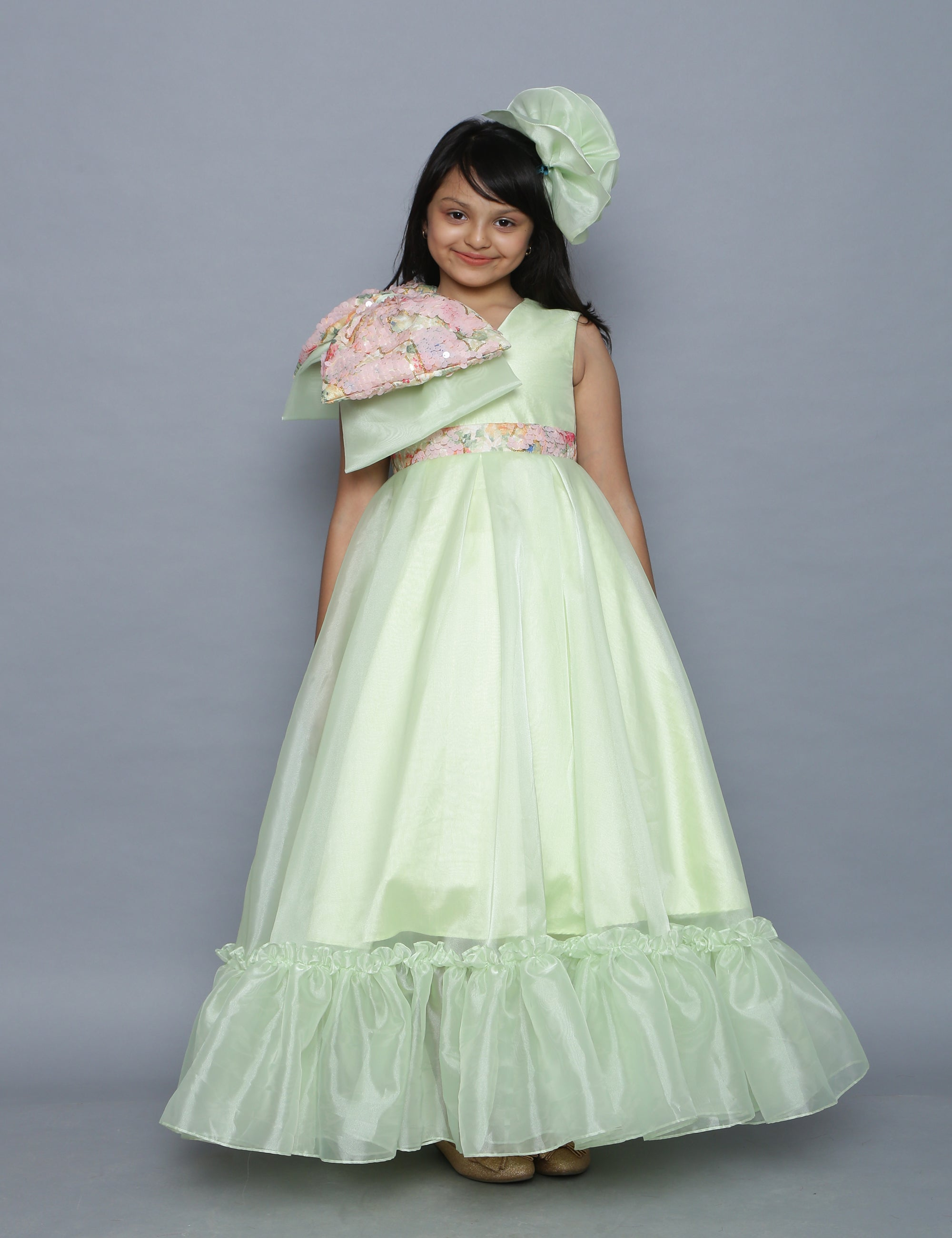 Green Organza Flairy Gown with Sequence Bow