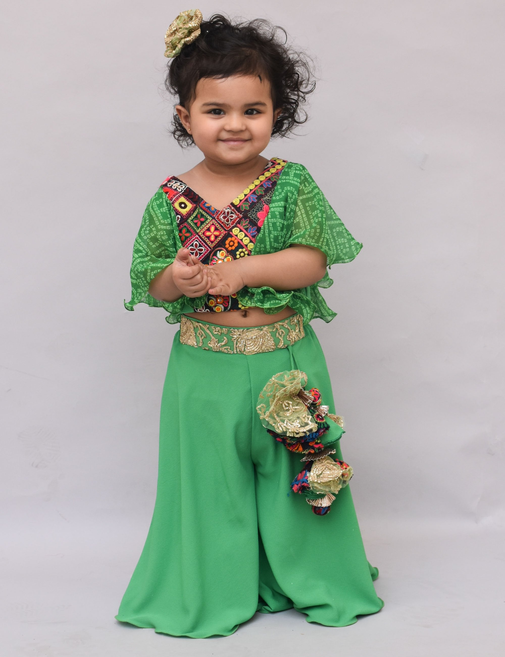 Green Phulkari Top with Plazo