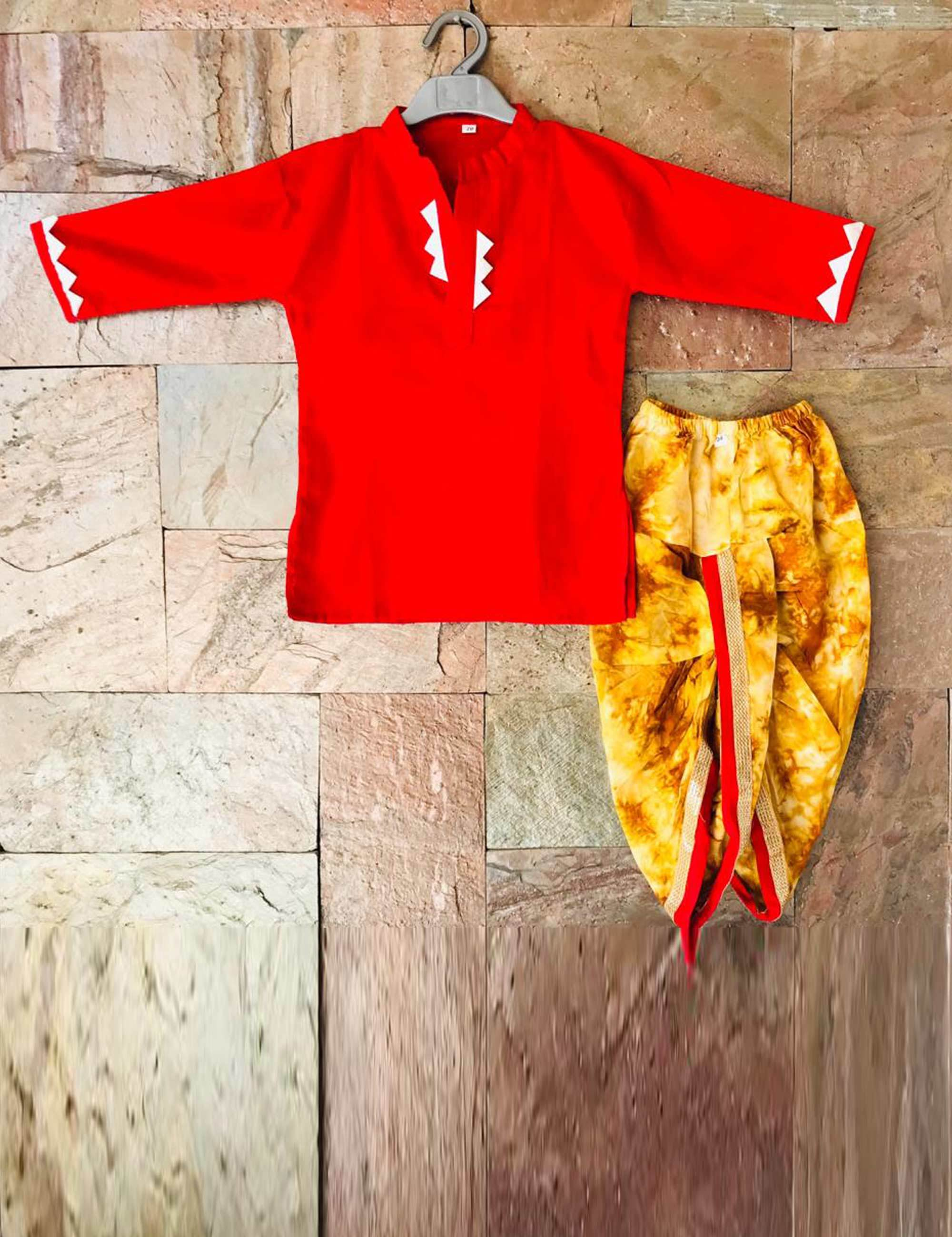 Red Tye & Dye Dhoti Kurta Set