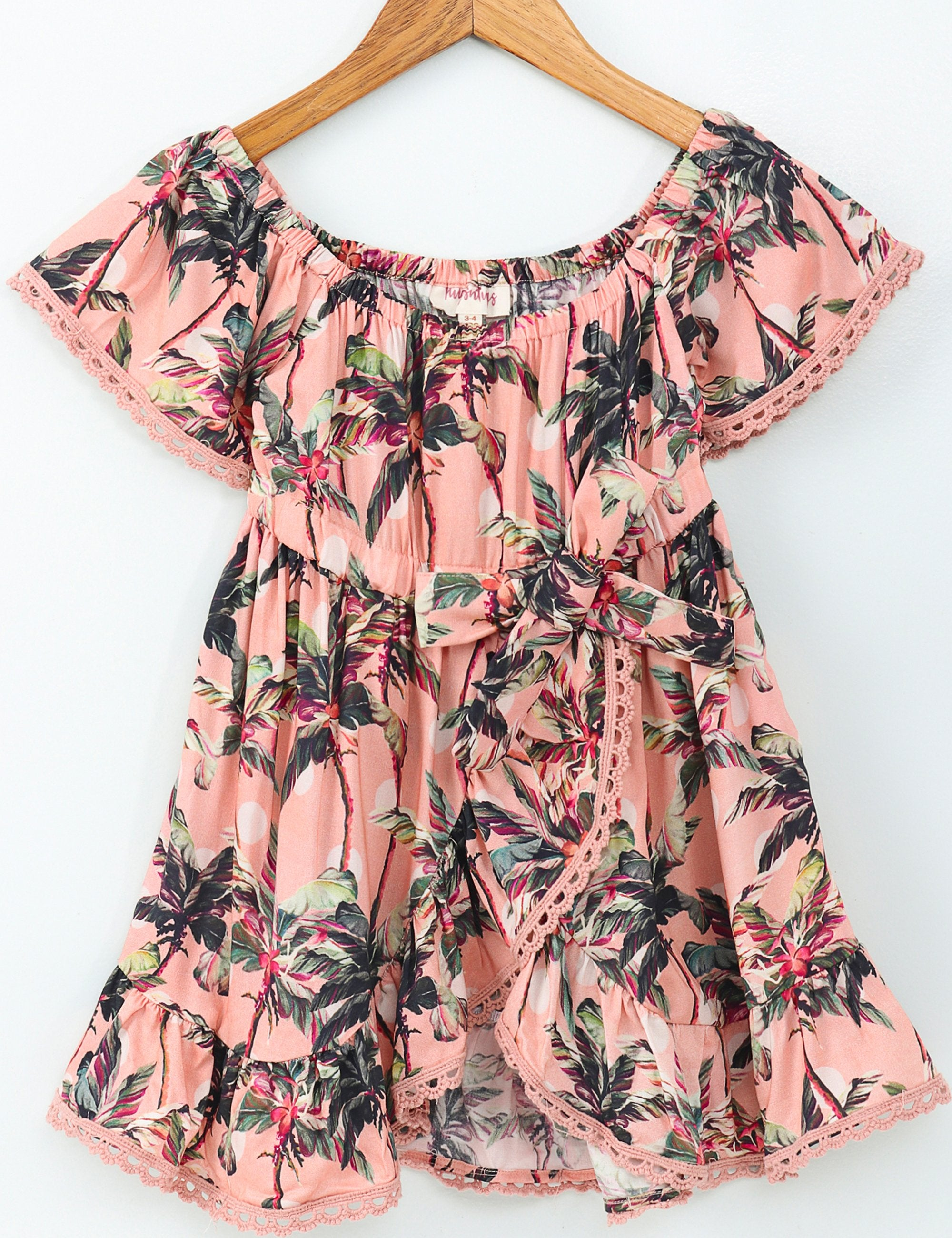 Palm Print Half Sleeves Dress - Pink