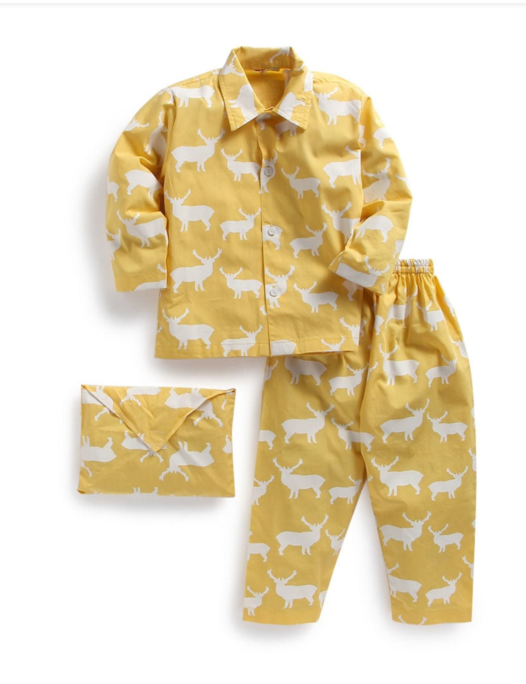 Yellow Deer Print Nightwear