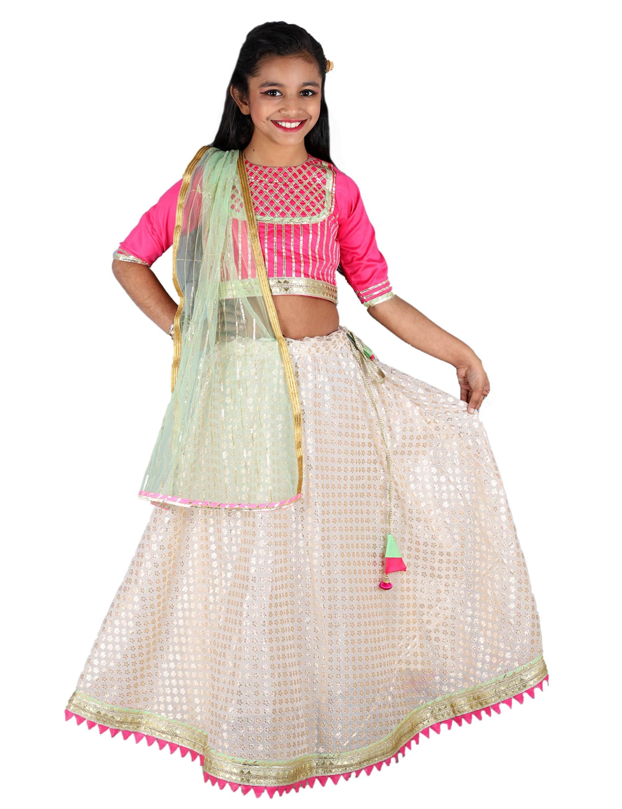 Pink and White Lehnga Choli Set